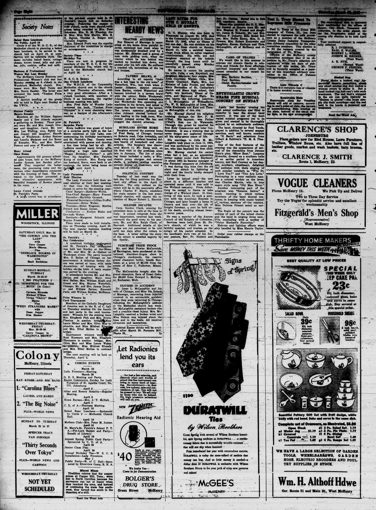 McHenry Plaindealer (McHenry, IL), 22 Mar 1945