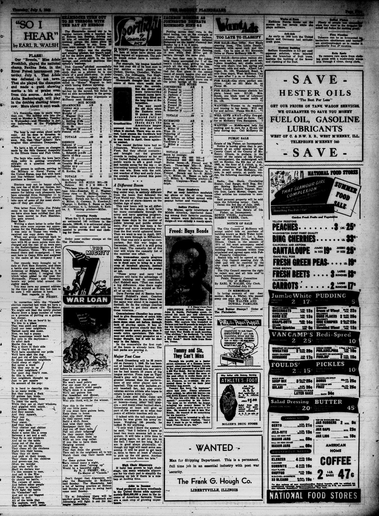 McHenry Plaindealer (McHenry, IL), 5 Jul 1945