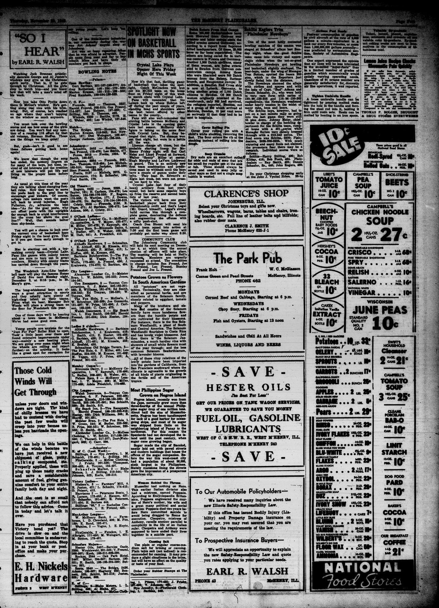 McHenry Plaindealer (McHenry, IL), 29 Nov 1945