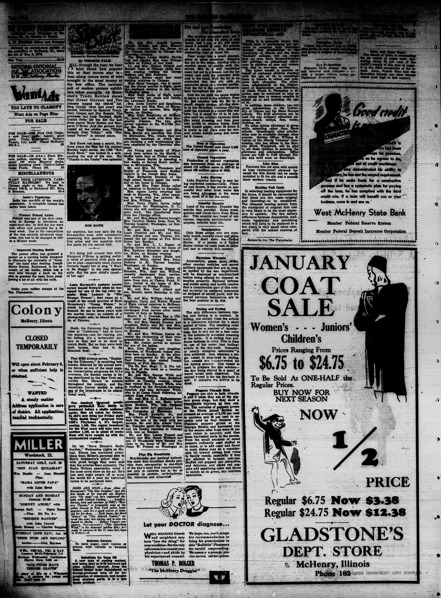 McHenry Plaindealer (McHenry, IL), 24 Jan 1946