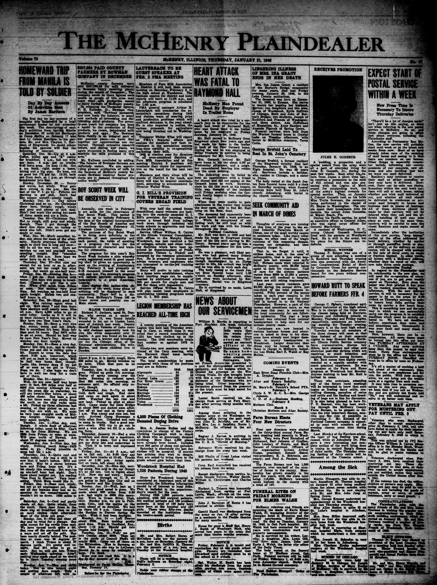 McHenry Plaindealer (McHenry, IL), 31 Jan 1946