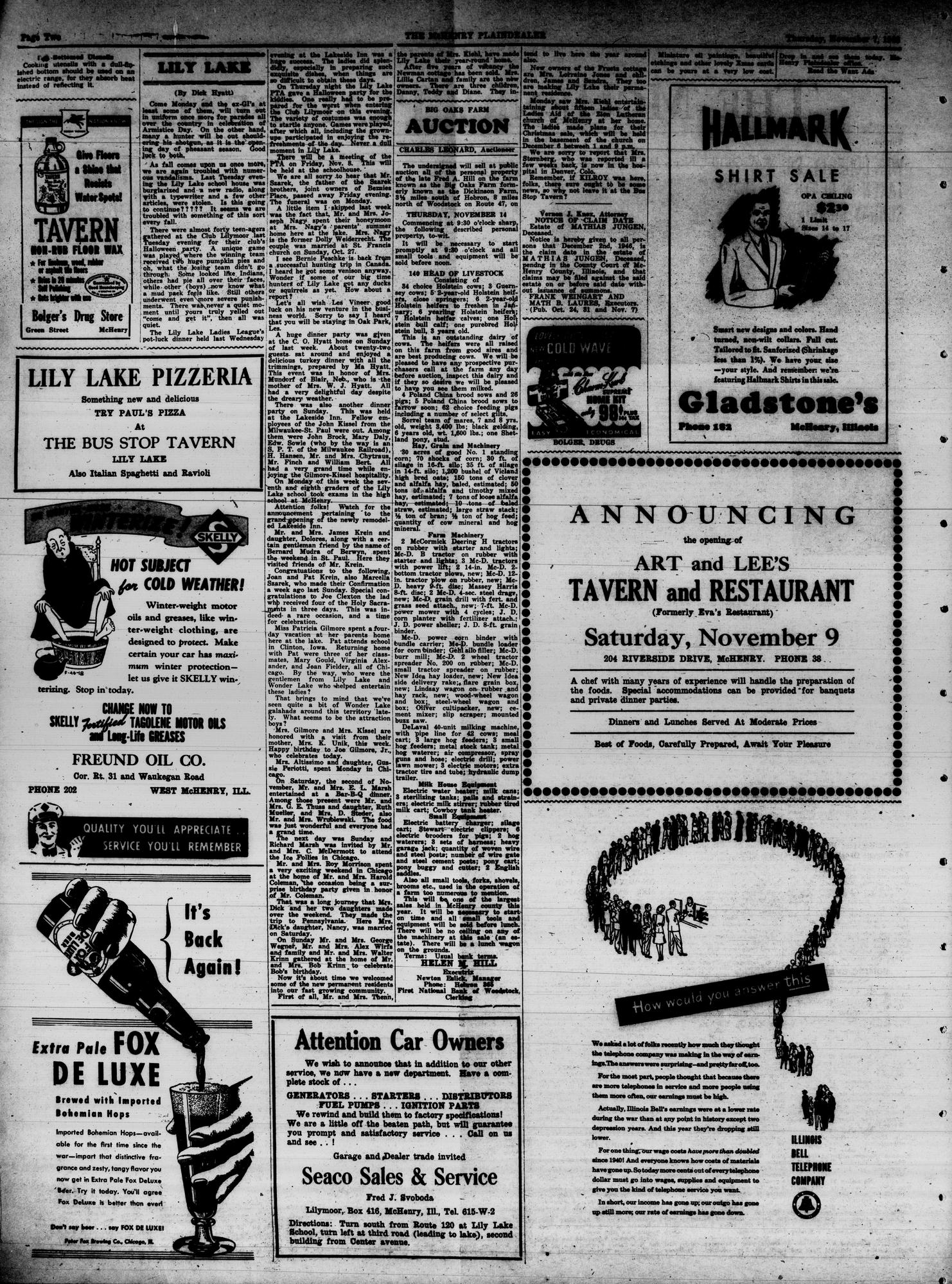 McHenry Plaindealer (McHenry, IL), 7 Nov 1946