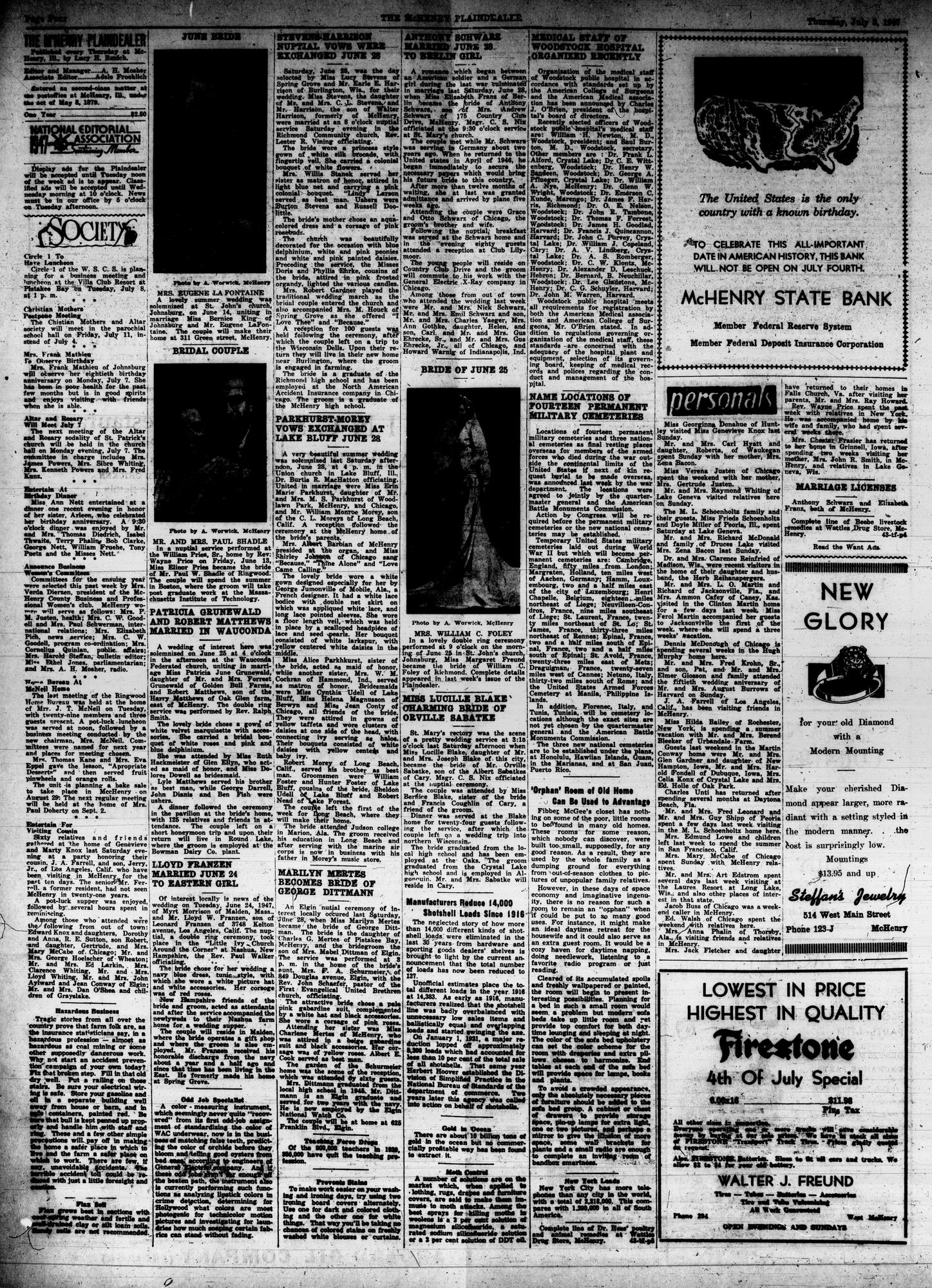 McHenry Plaindealer (McHenry, IL), 3 Jul 1947