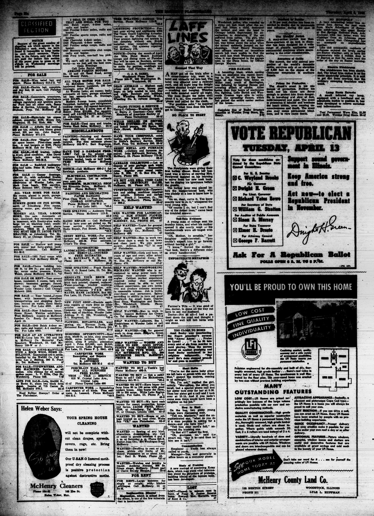 McHenry Plaindealer (McHenry, IL), 8 Apr 1948