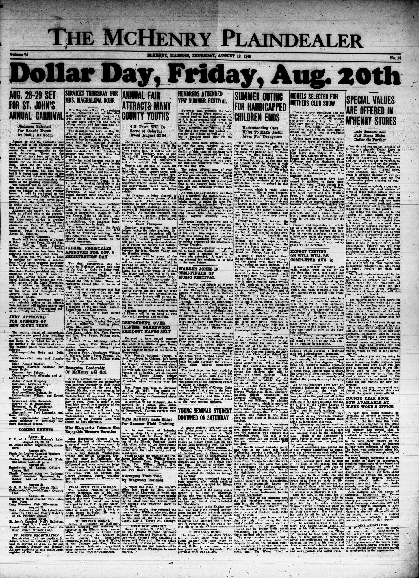 McHenry Plaindealer (McHenry, IL), 19 Aug 1948