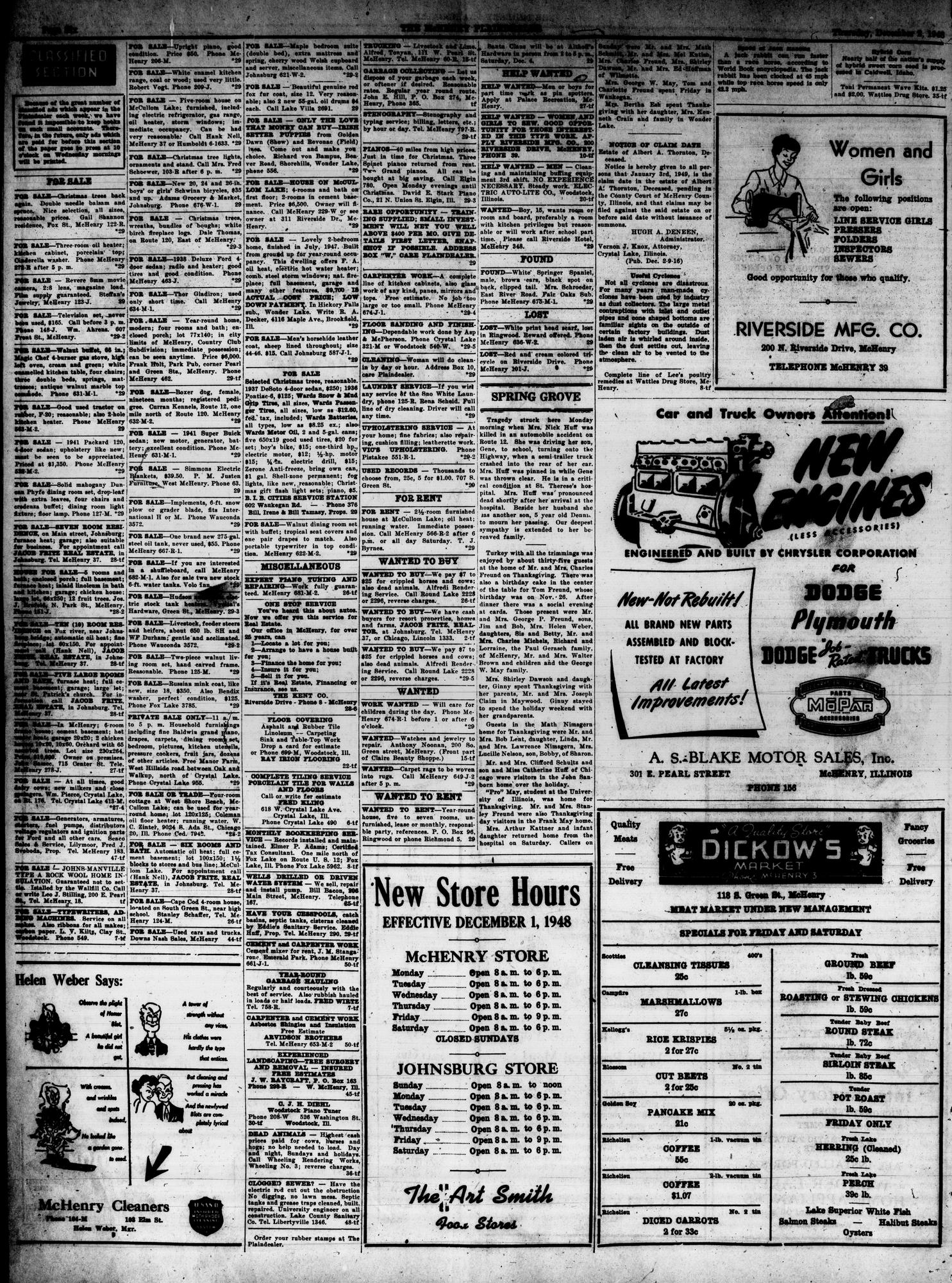 McHenry Plaindealer (McHenry, IL), 2 Dec 1948