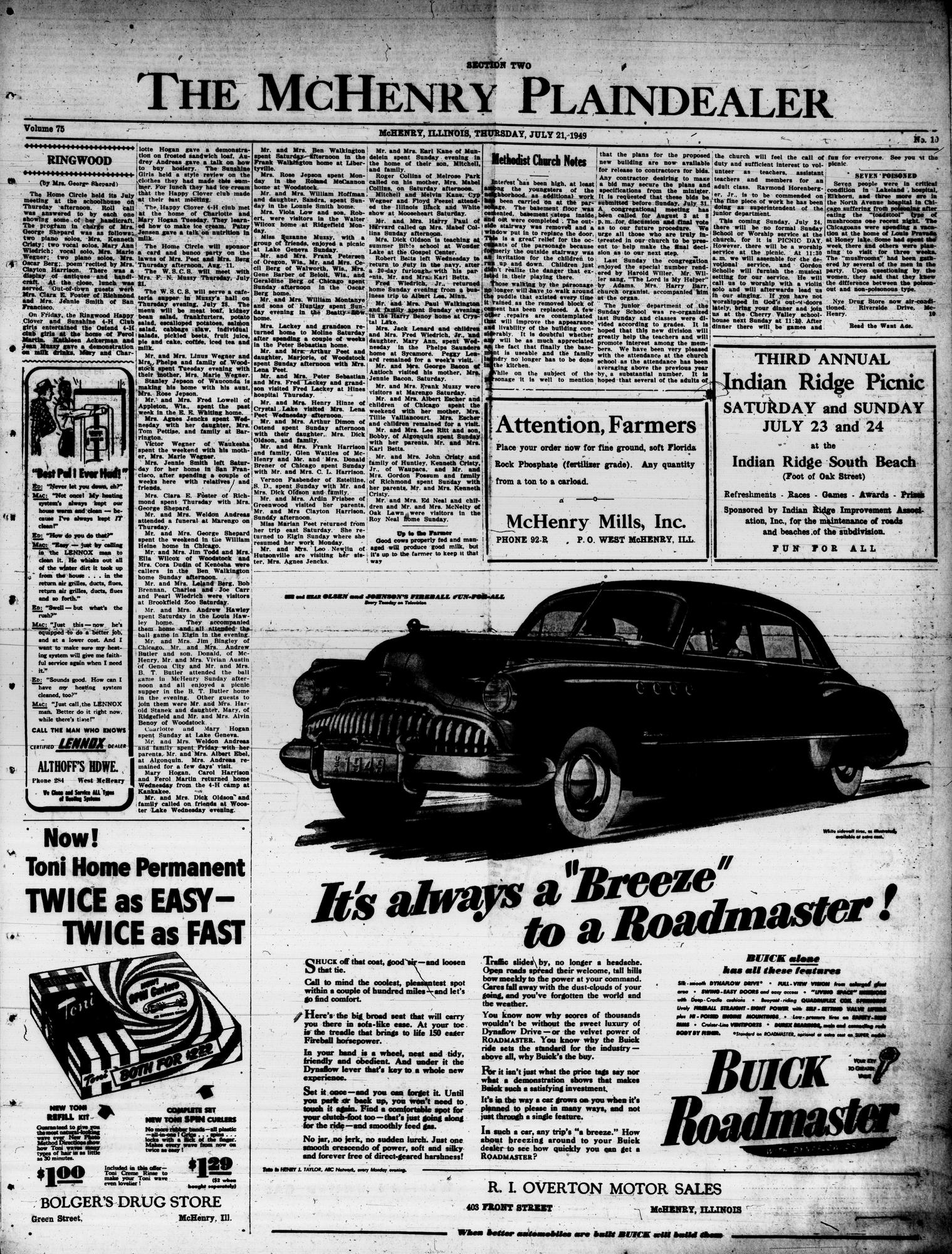 McHenry Plaindealer (McHenry, IL), 21 Jul 1949