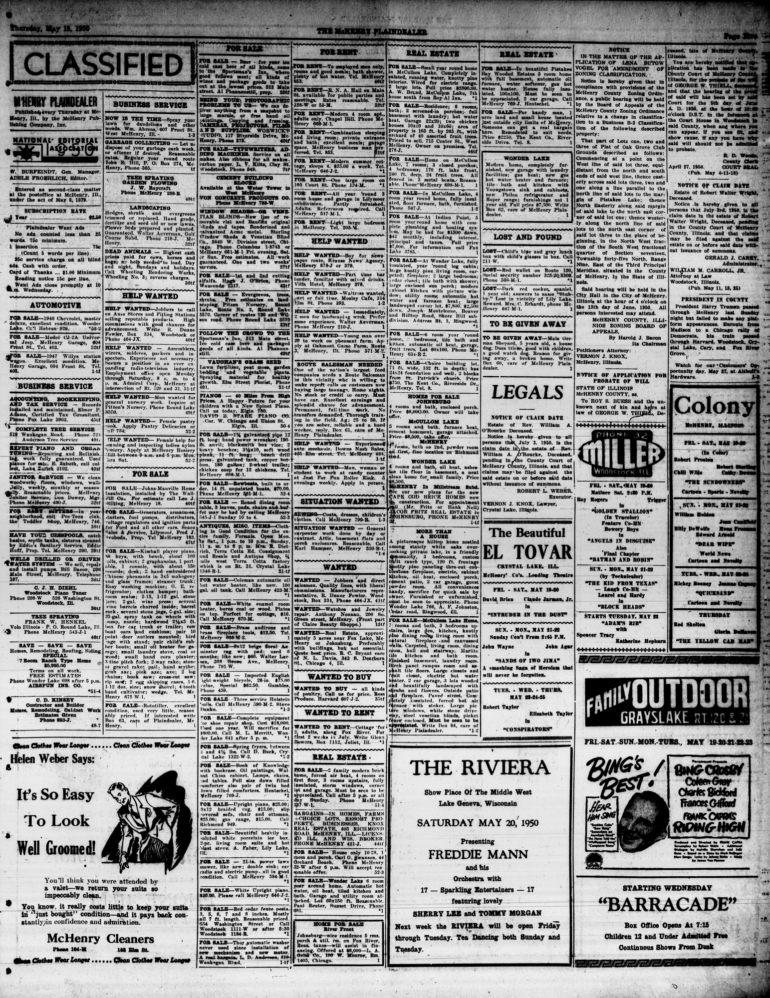 McHenry Plaindealer (McHenry, IL), 18 May 1950