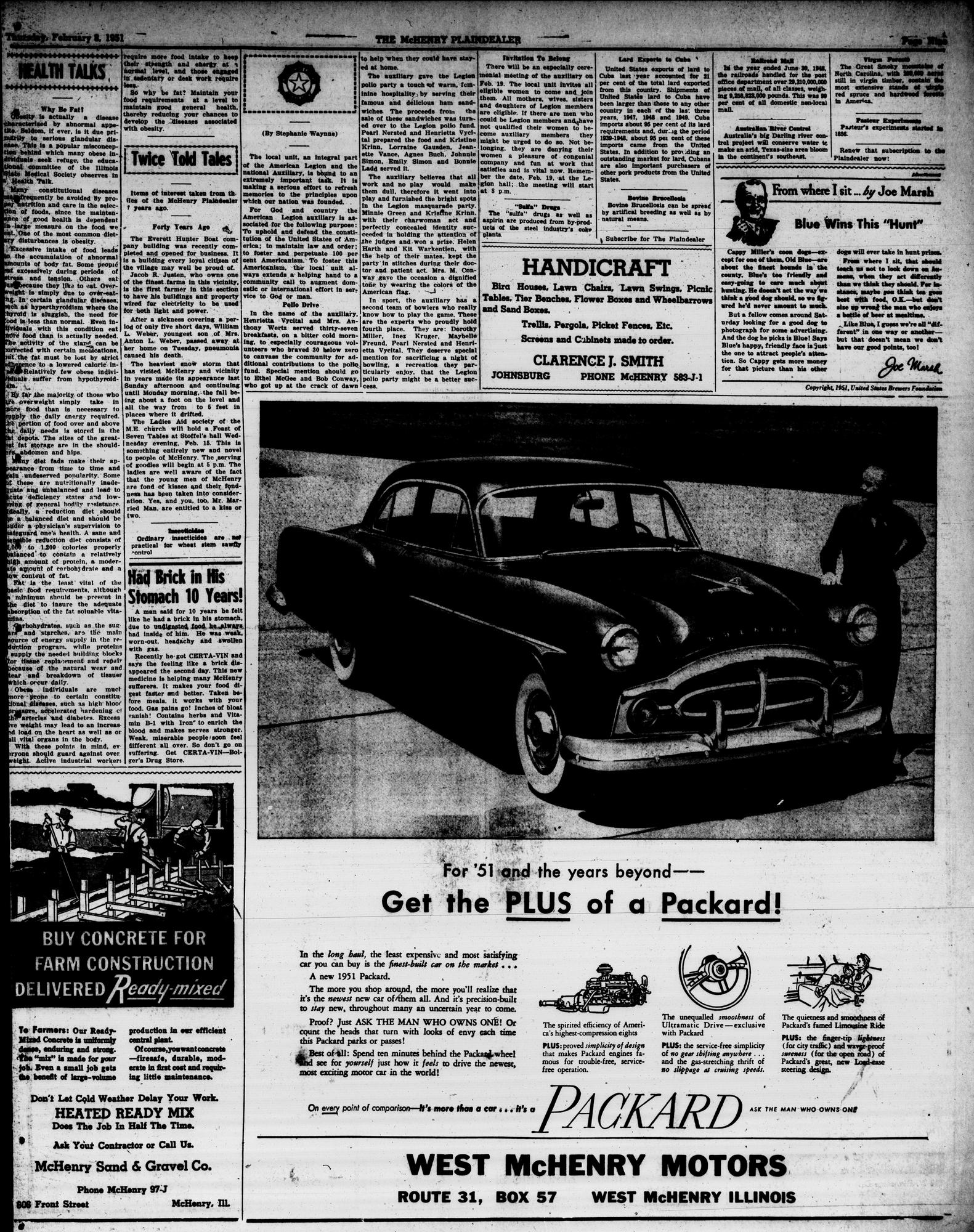 McHenry Plaindealer (McHenry, IL), 8 Feb 1951