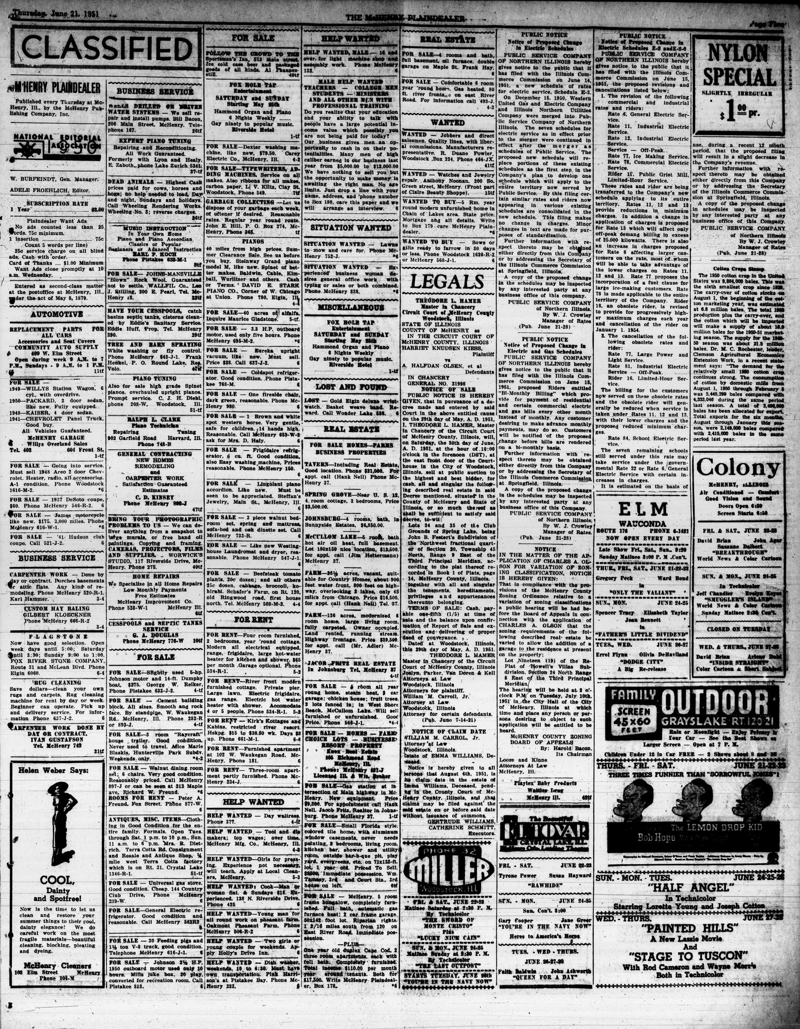 McHenry Plaindealer (McHenry, IL), 21 Jun 1951