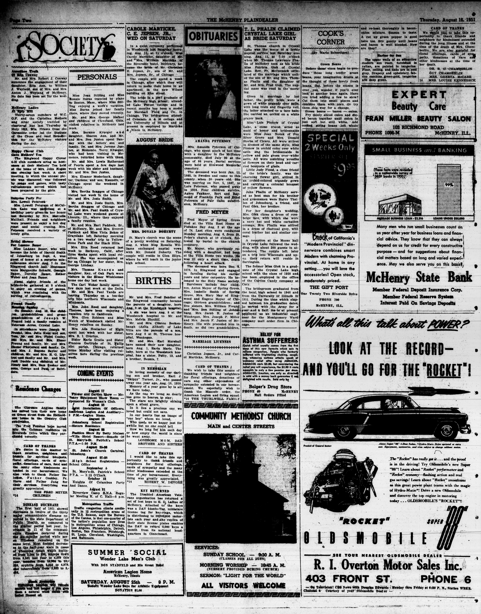 McHenry Plaindealer (McHenry, IL), 16 Aug 1951