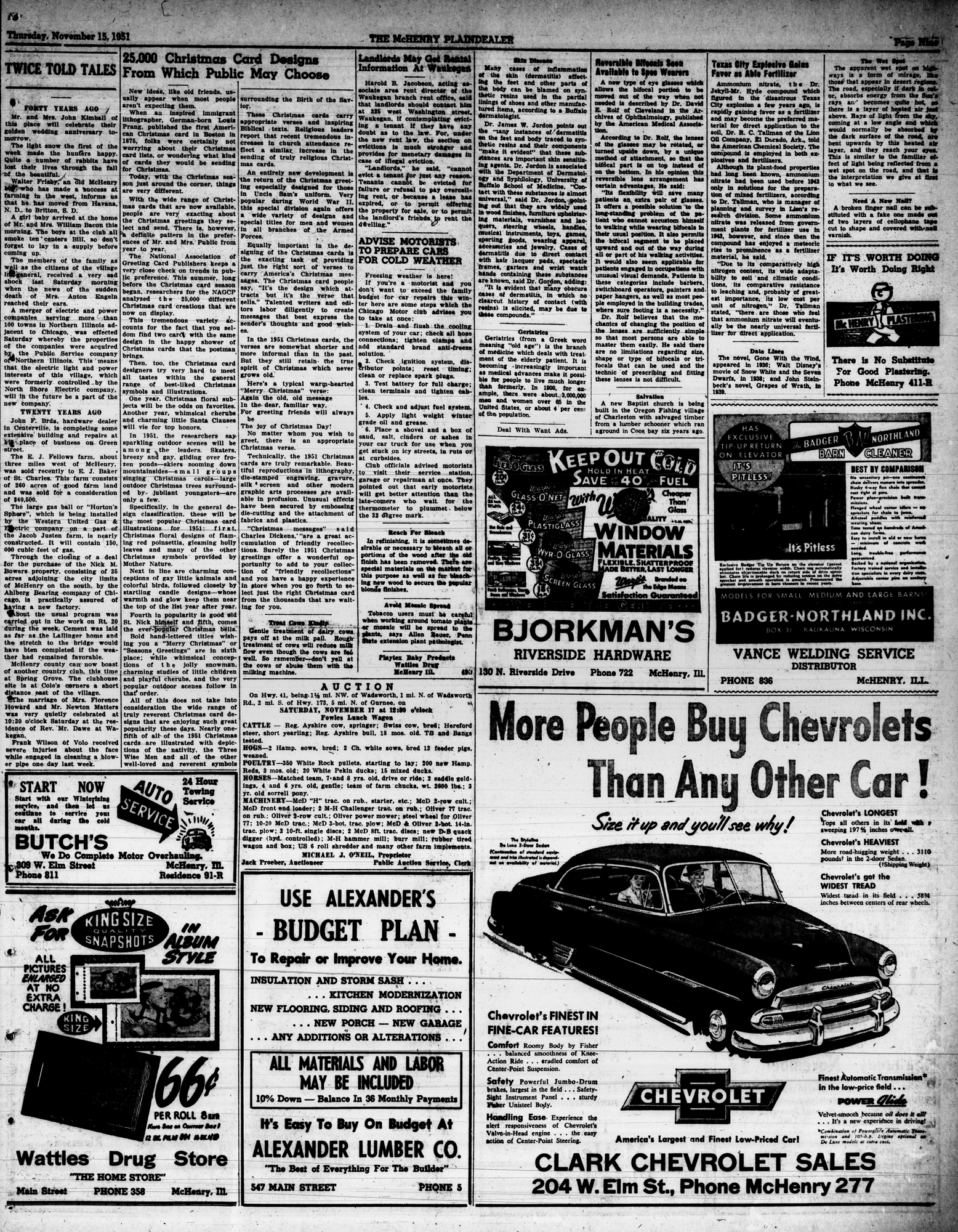 McHenry Plaindealer (McHenry, IL), 15 Nov 1951