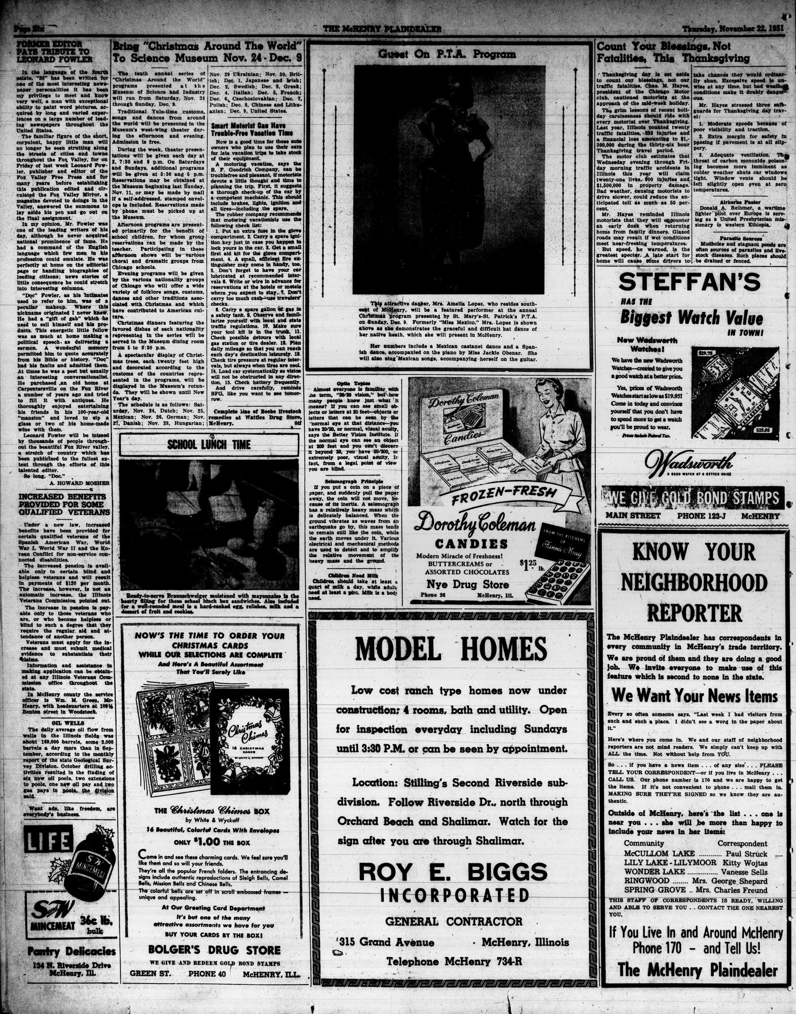 McHenry Plaindealer (McHenry, IL), 22 Nov 1951