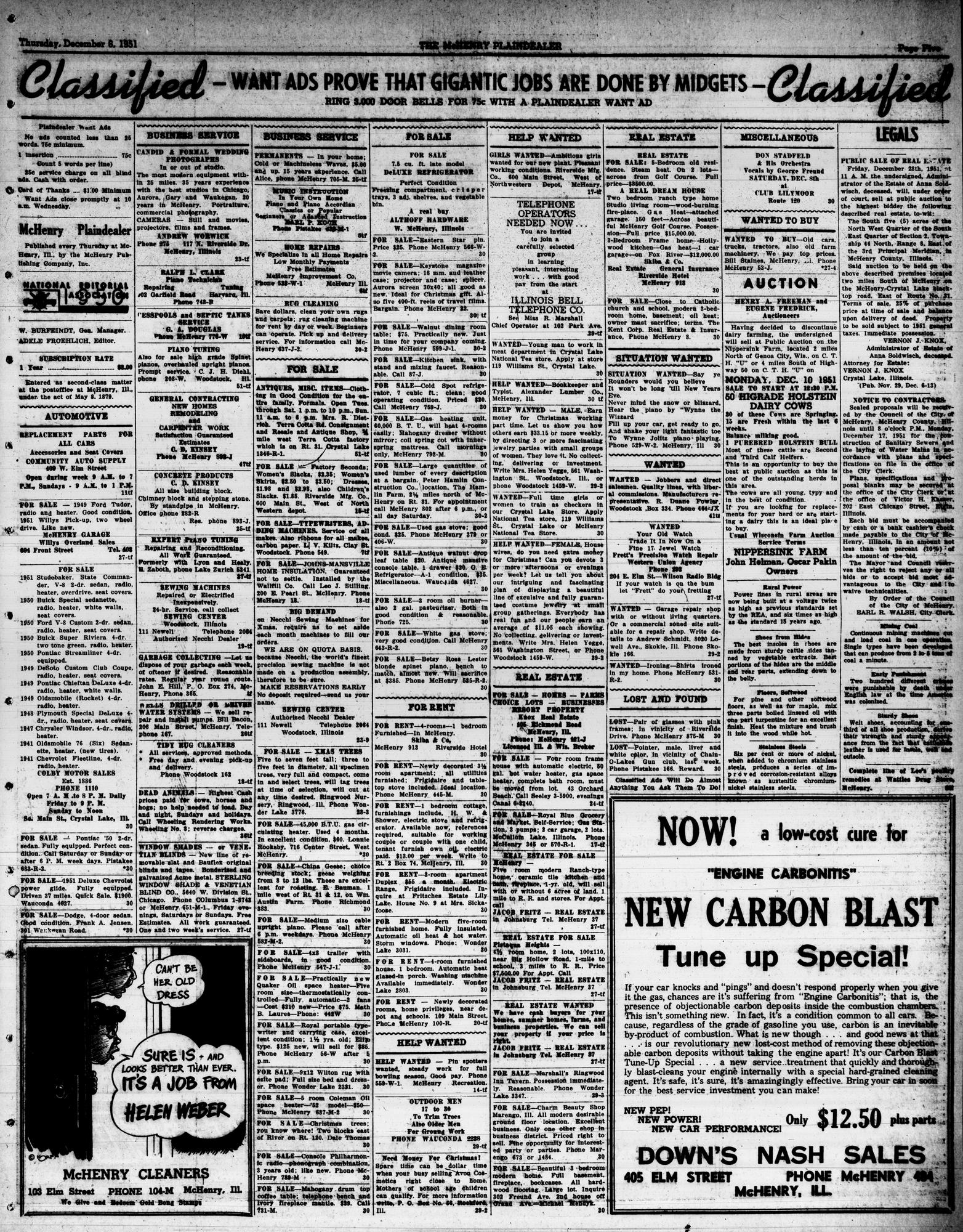 McHenry Plaindealer (McHenry, IL), 6 Dec 1951