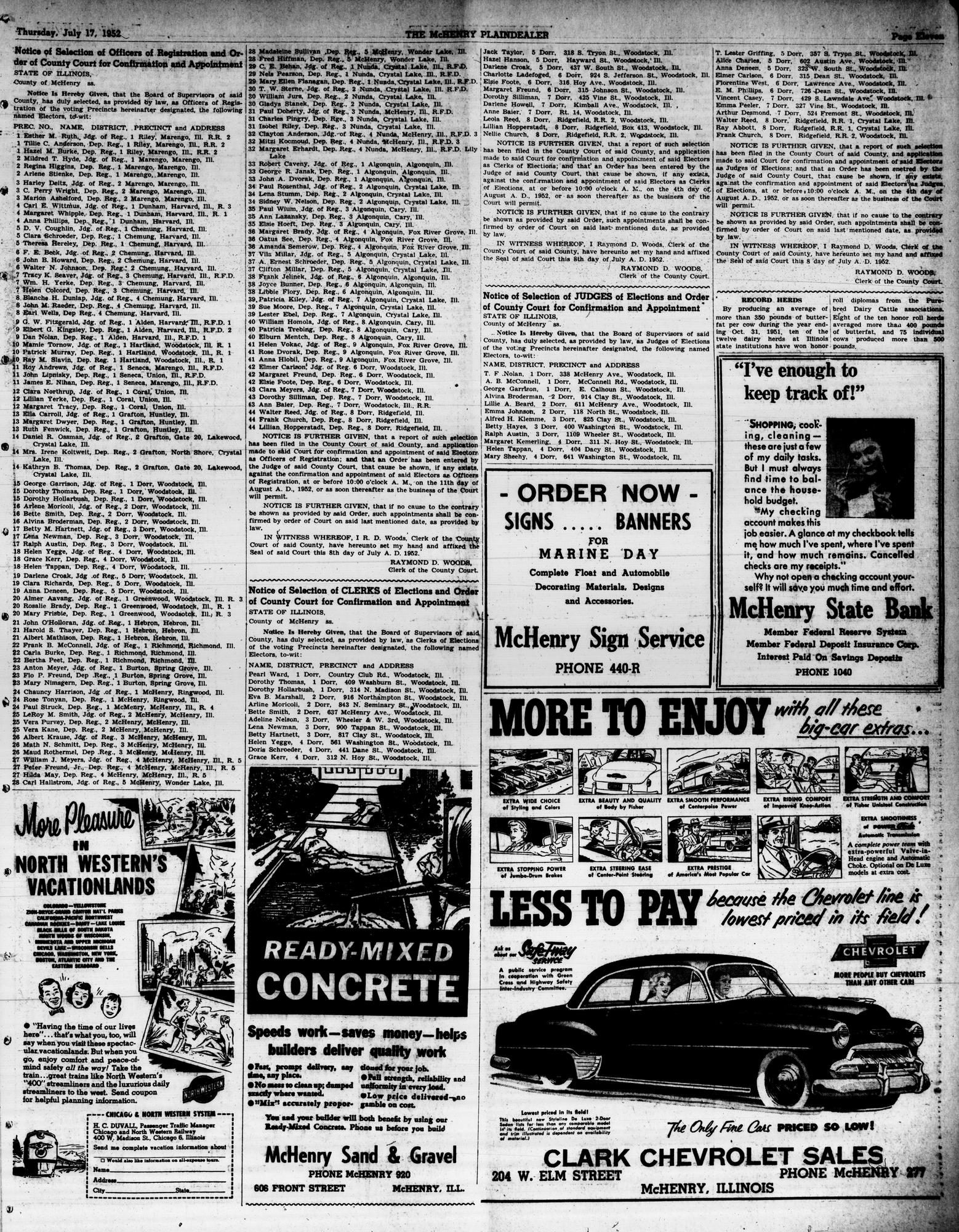 McHenry Plaindealer (McHenry, IL), 17 Jul 1952