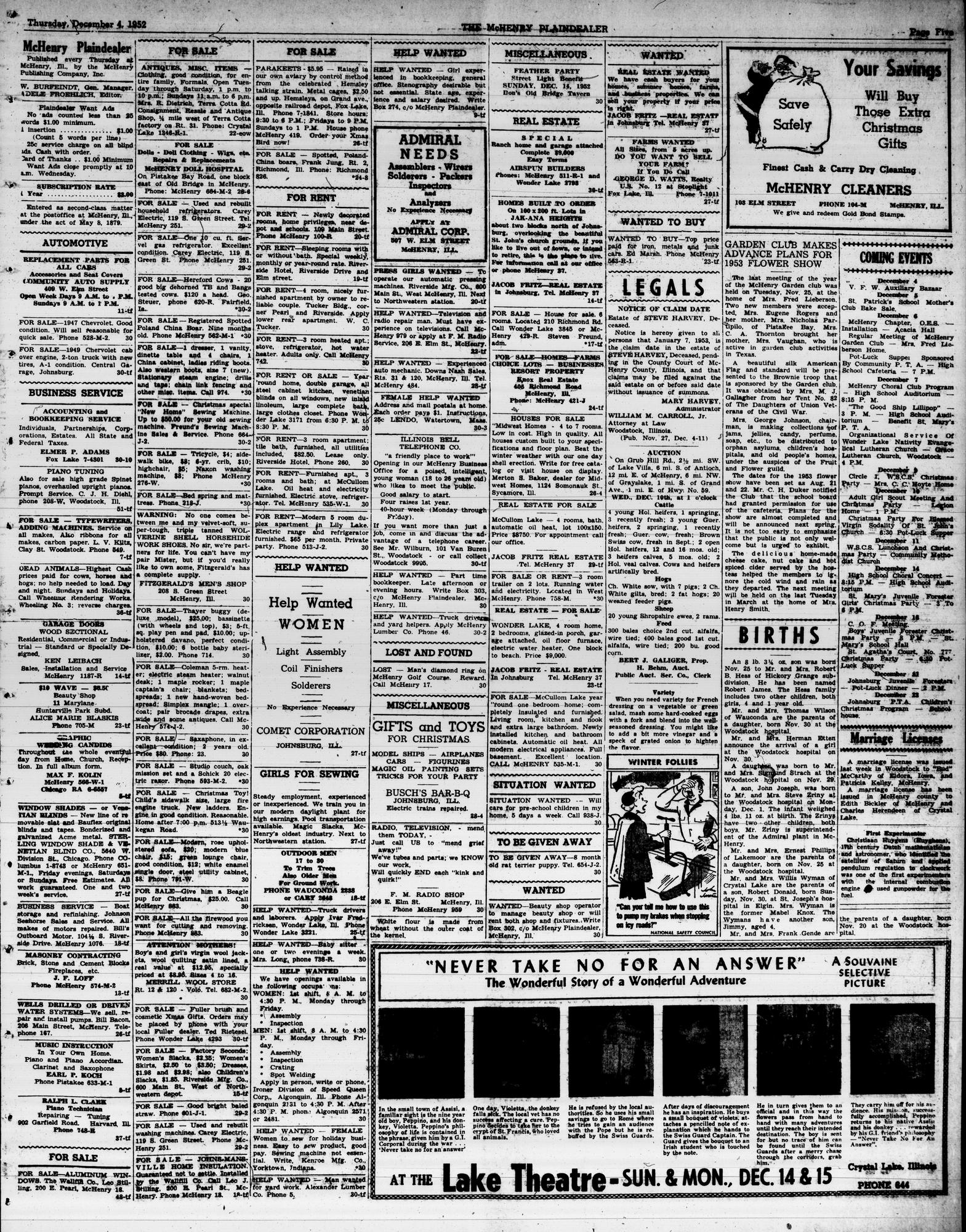 McHenry Plaindealer (McHenry, IL), 4 Dec 1952
