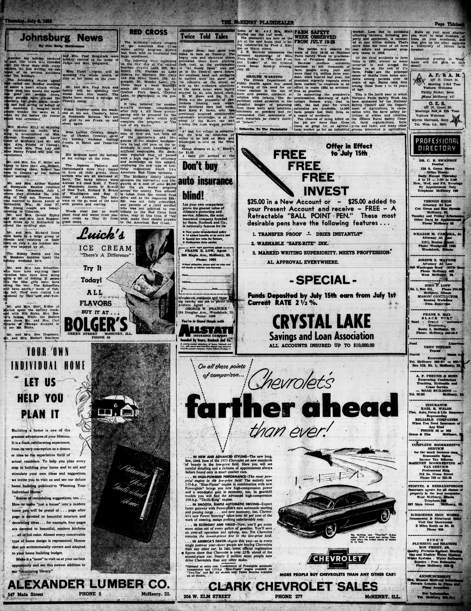 McHenry Plaindealer (McHenry, IL), 9 Jul 1953