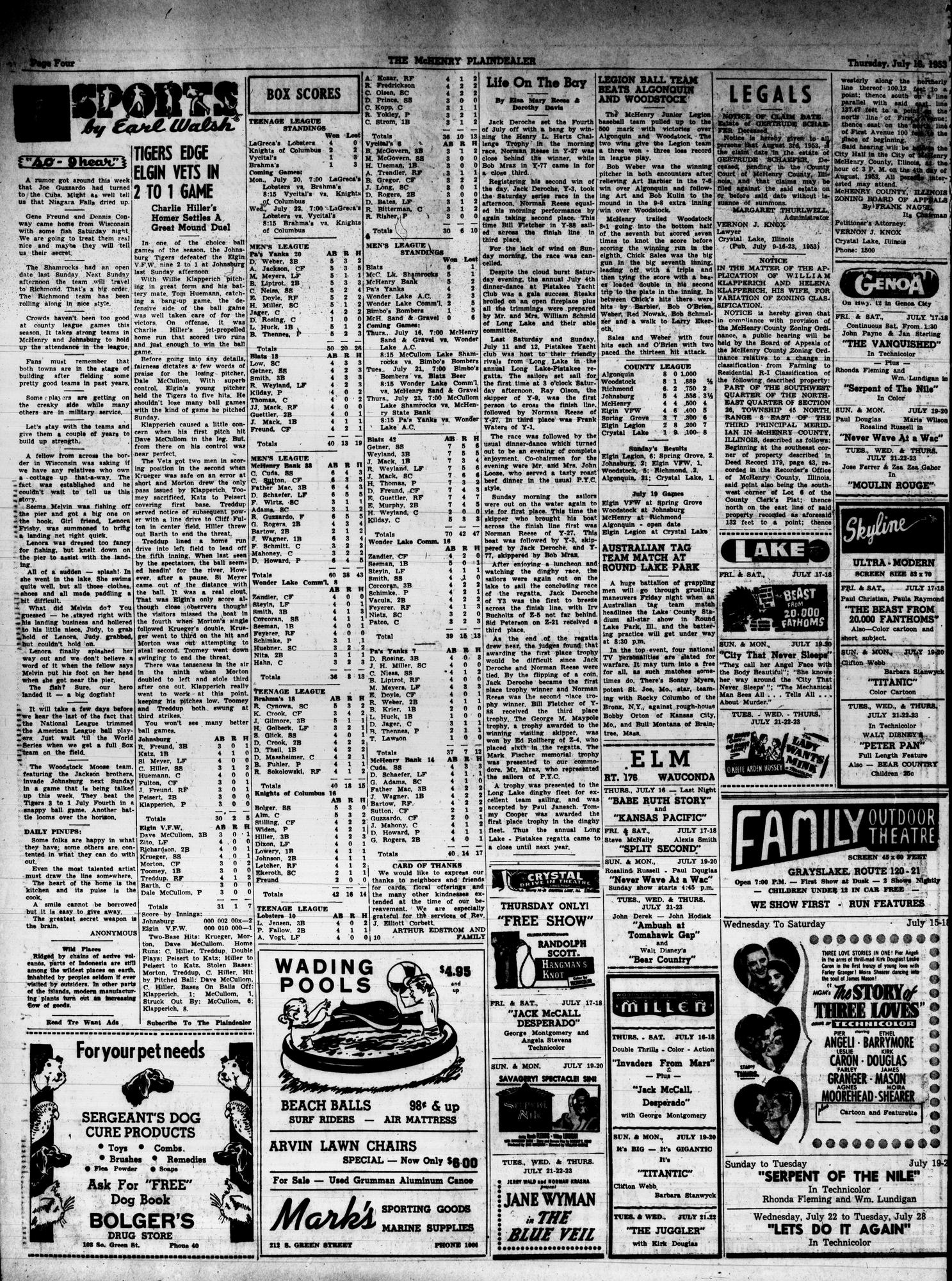 McHenry Plaindealer (McHenry, IL), 16 Jul 1953