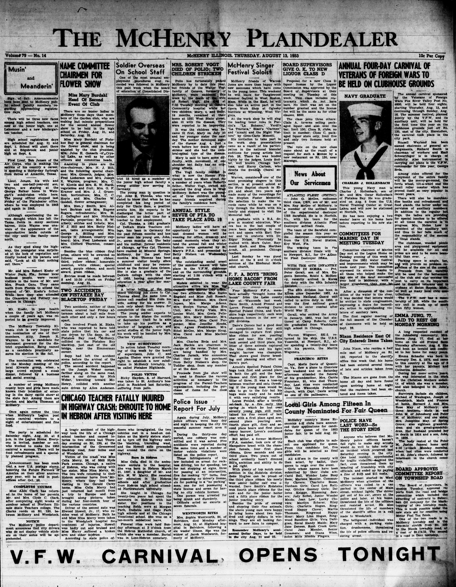 McHenry Plaindealer (McHenry, IL), 13 Aug 1953