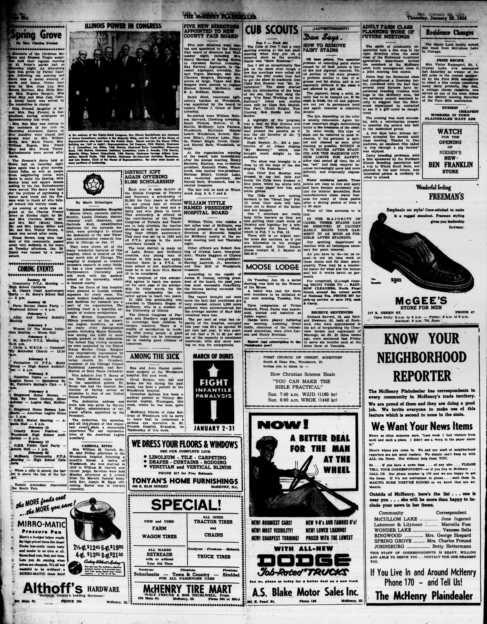 McHenry Plaindealer (McHenry, IL), 28 Jan 1954