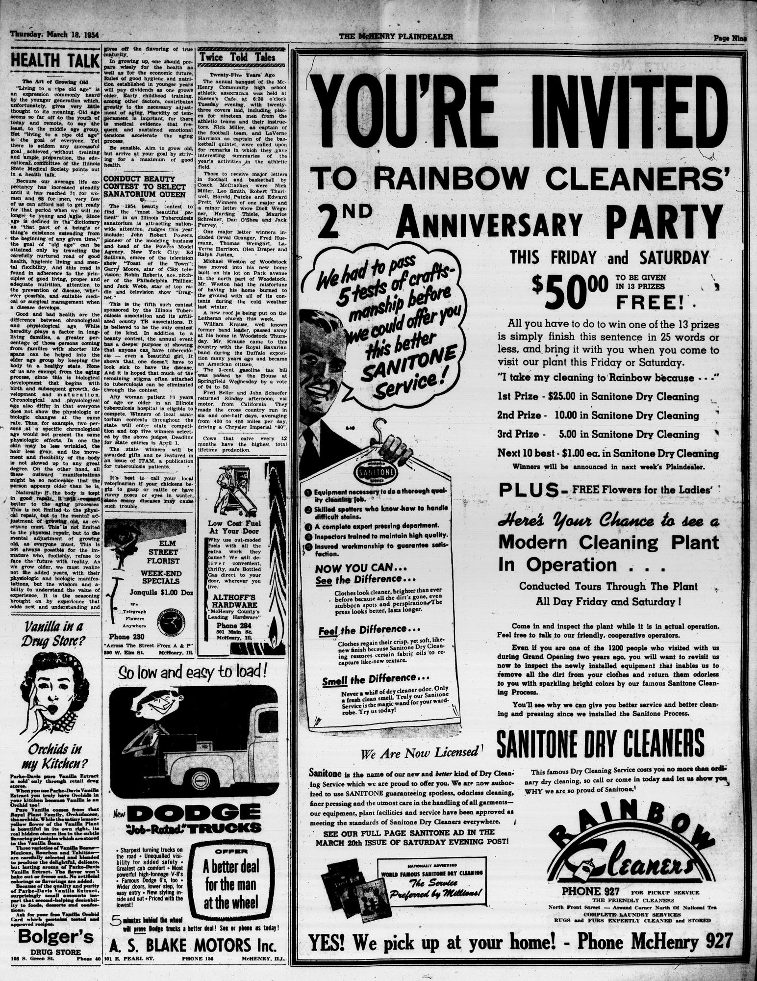 McHenry Plaindealer (McHenry, IL), 18 Mar 1954