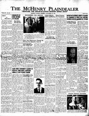 McHenry Plaindealer (McHenry, IL), 23 Sep 1954