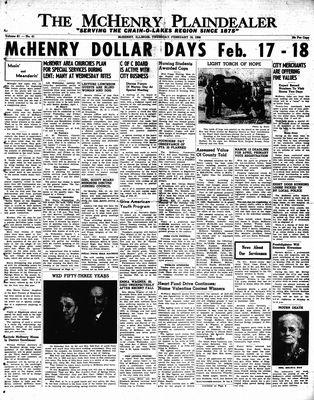 McHenry Plaindealer (McHenry, IL), 16 Feb 1956