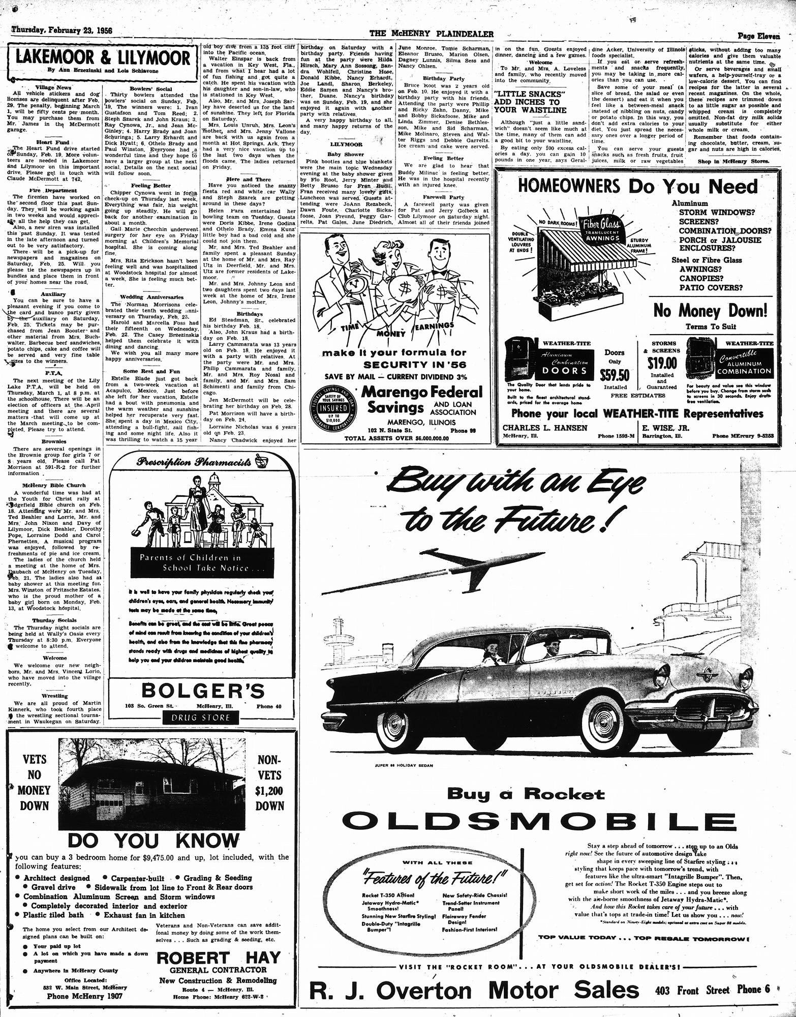 McHenry Plaindealer (McHenry, IL), 23 Feb 1956
