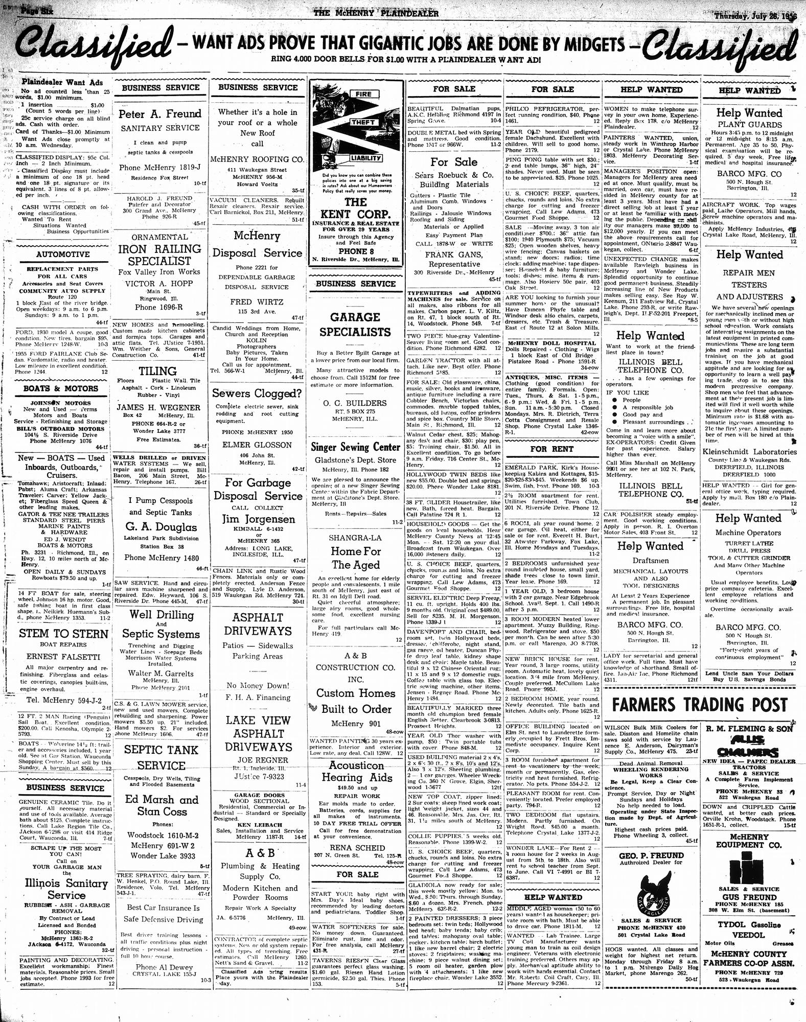 McHenry Plaindealer (McHenry, IL), 26 Jul 1956