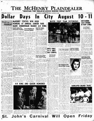 McHenry Plaindealer (McHenry, IL), 9 Aug 1956