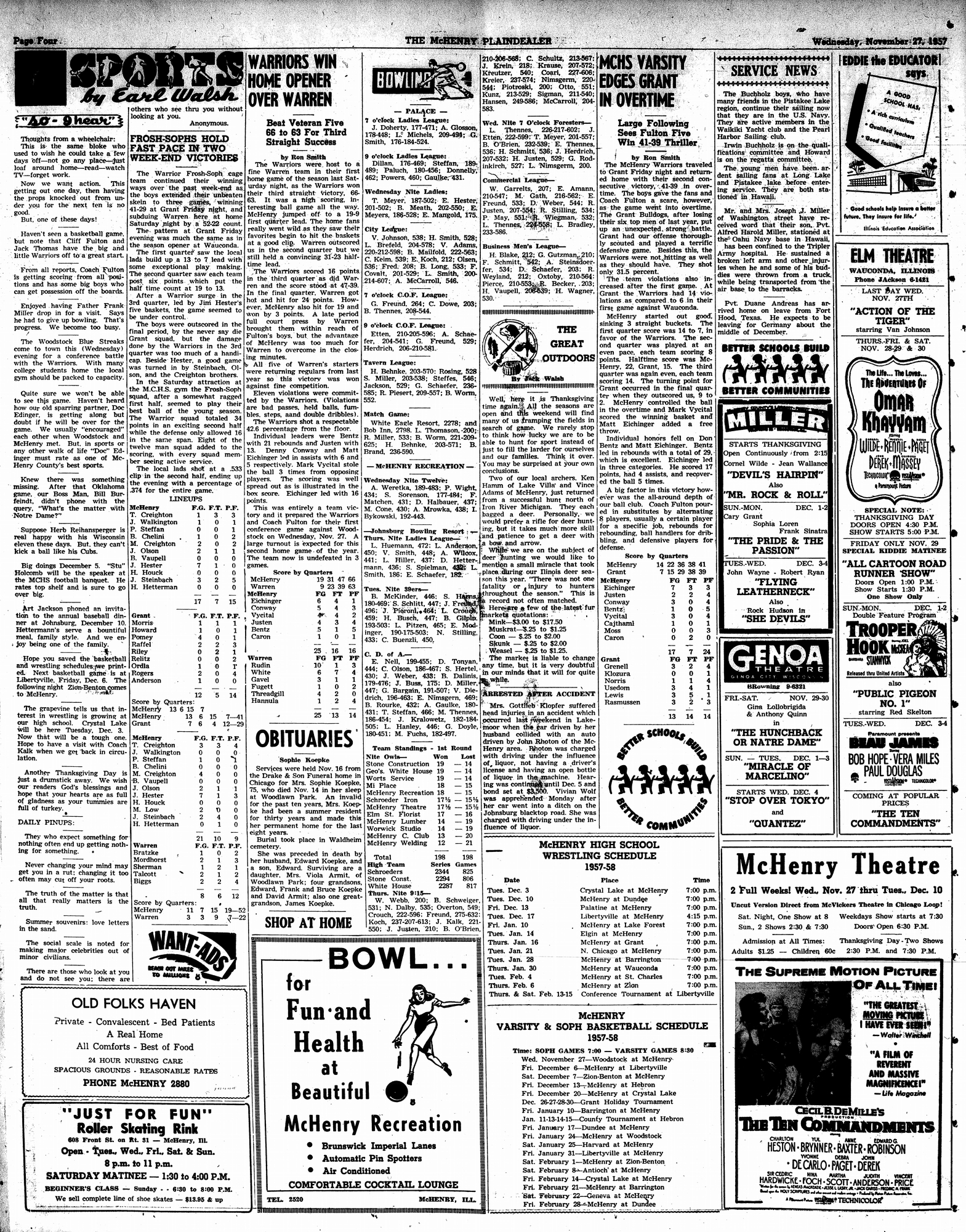 McHenry Plaindealer (McHenry, IL), 27 Nov 1957