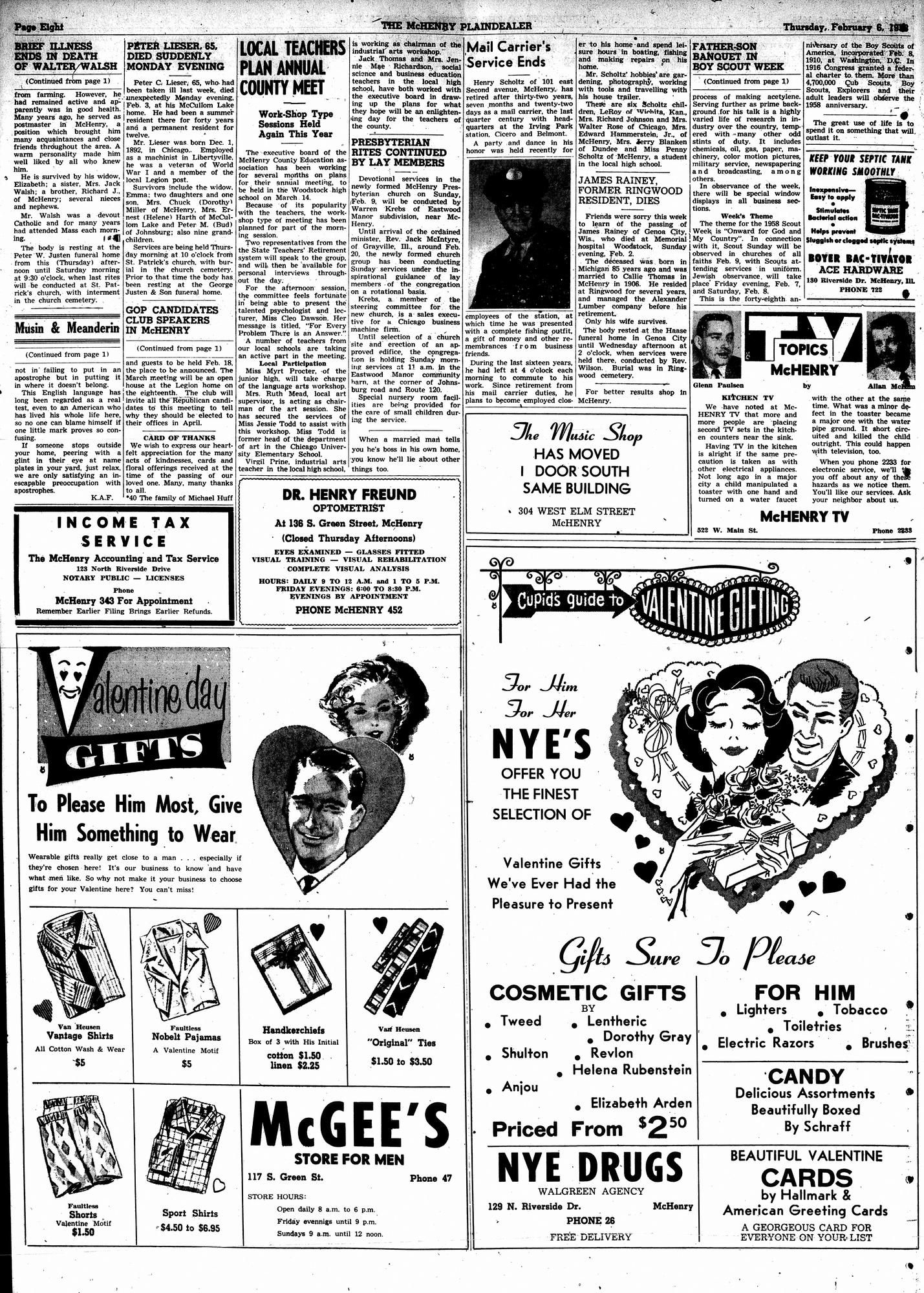 McHenry Plaindealer (McHenry, IL), 6 Feb 1958