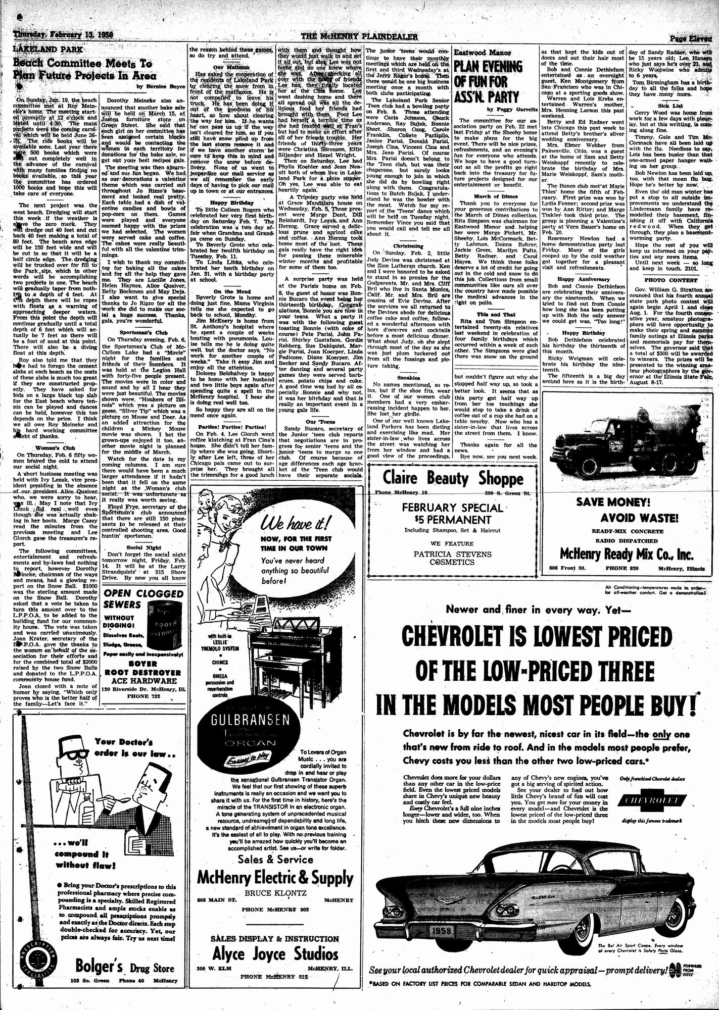 McHenry Plaindealer (McHenry, IL), 13 Feb 1958