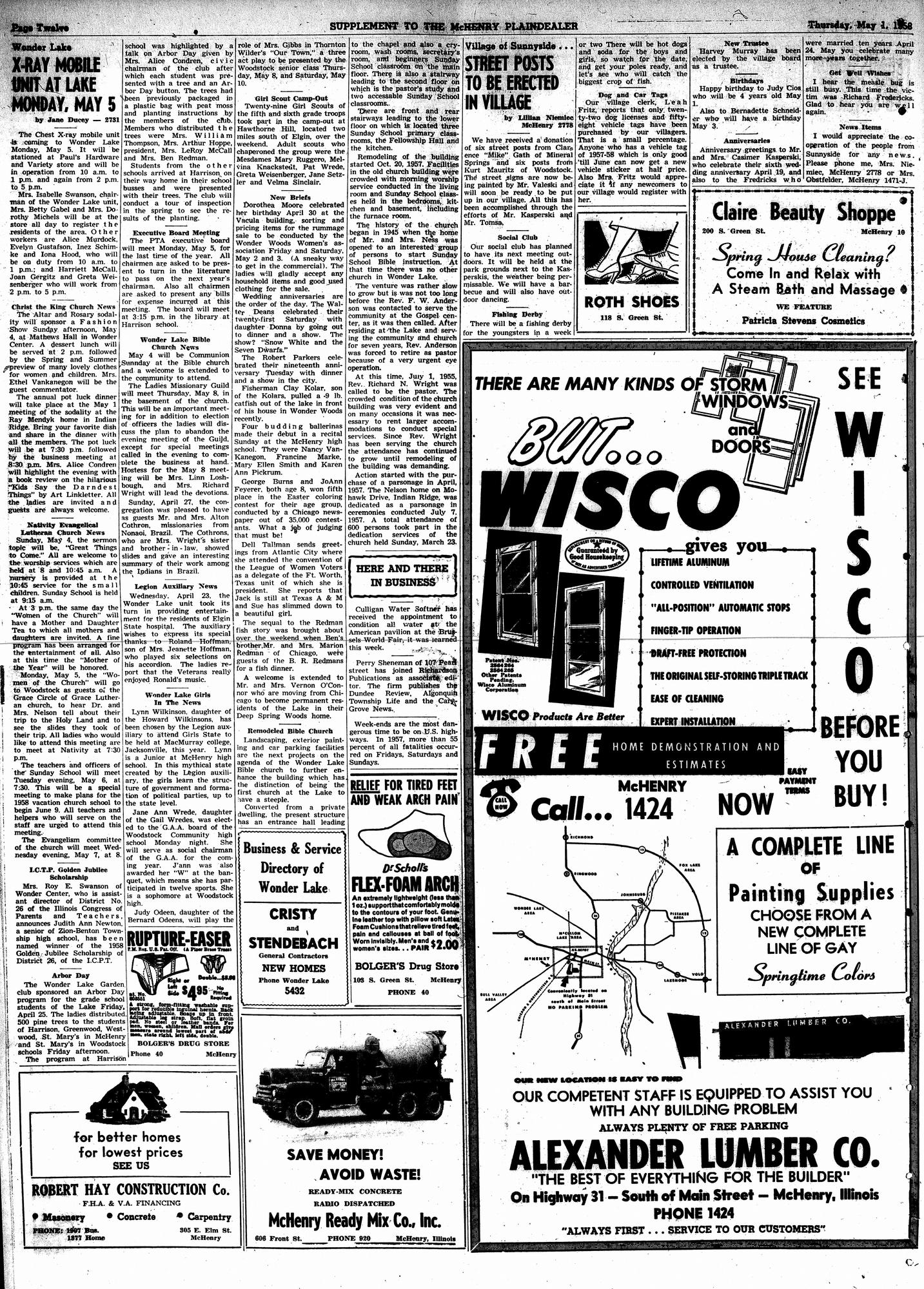 McHenry Plaindealer (McHenry, IL), 1 May 1958