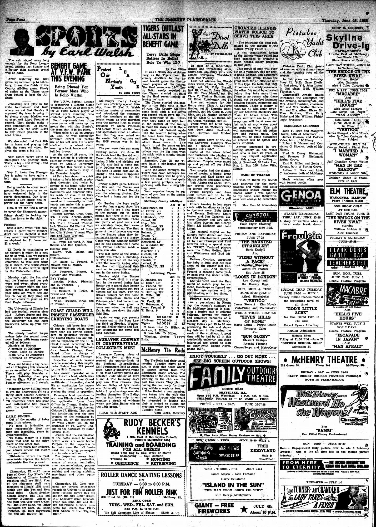 McHenry Plaindealer (McHenry, IL), 26 Jun 1958