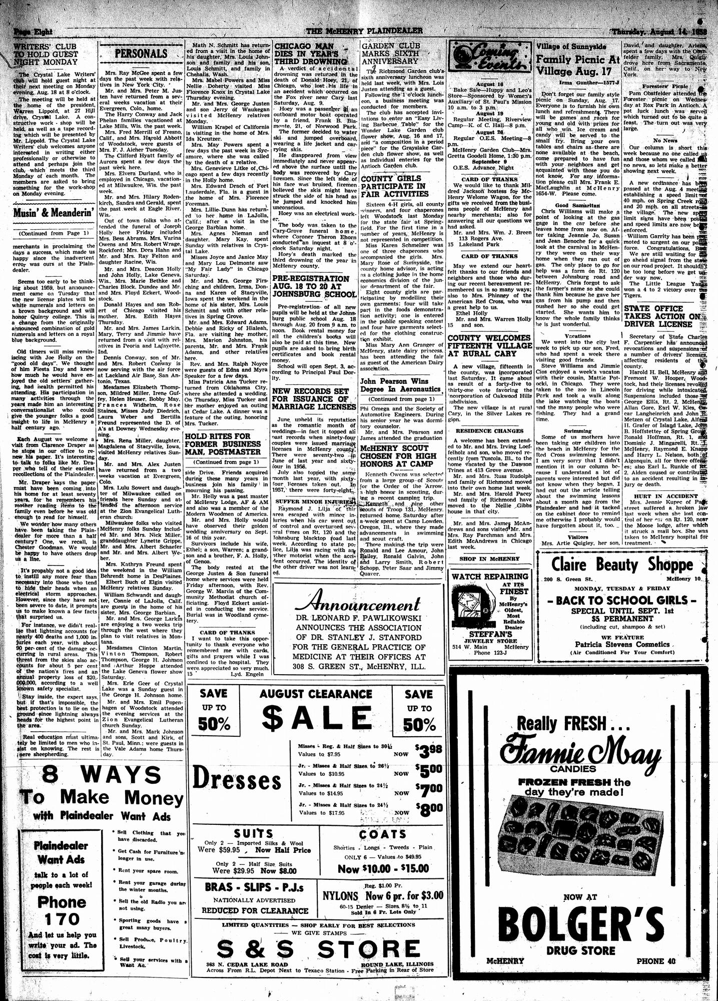 McHenry Plaindealer (McHenry, IL), 14 Aug 1958