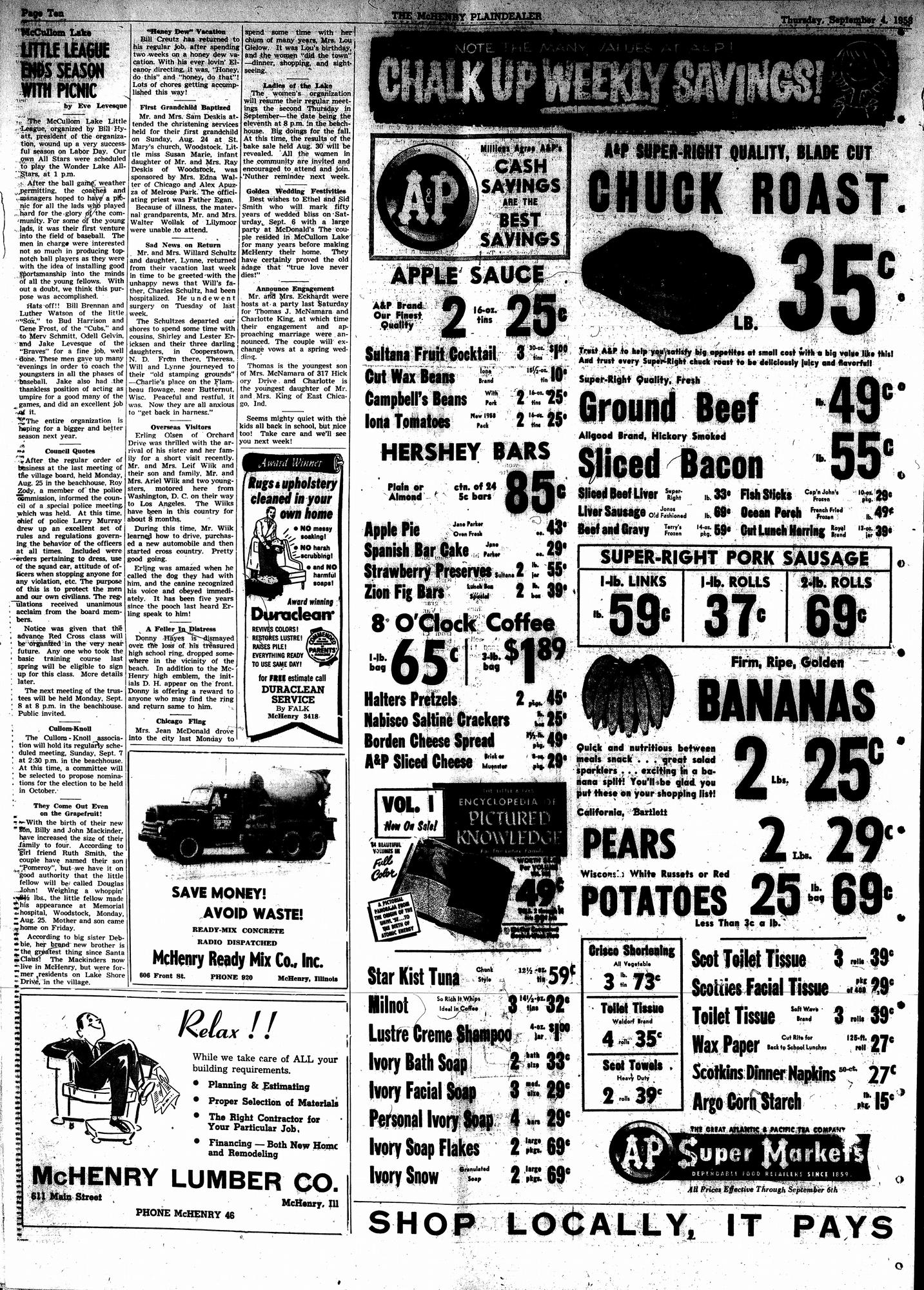 McHenry Plaindealer (McHenry, IL), 4 Sep 1958