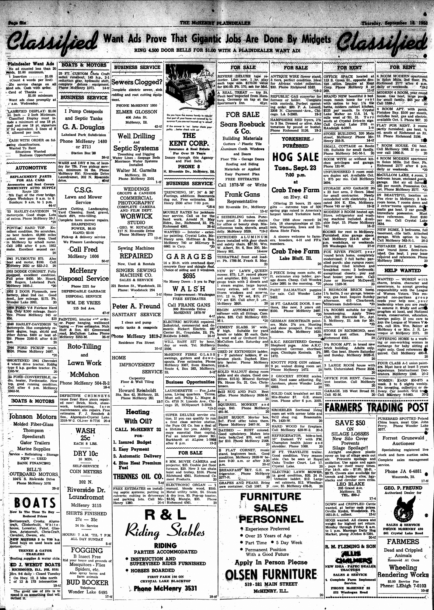 McHenry Plaindealer (McHenry, IL), 18 Sep 1958