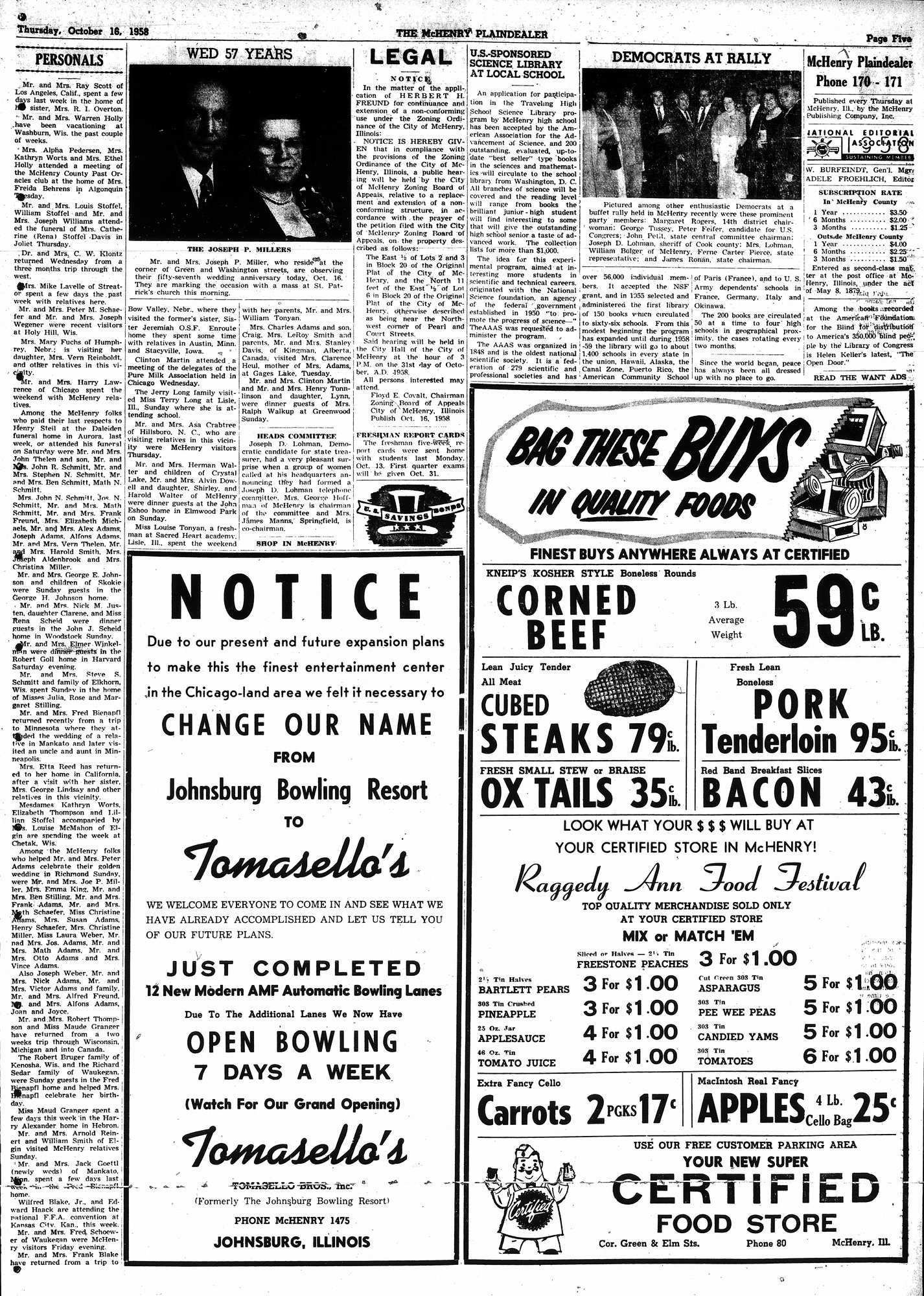 McHenry Plaindealer (McHenry, IL), 16 Oct 1958