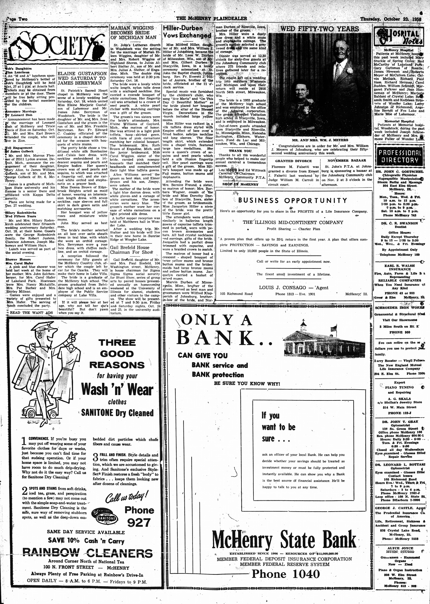 McHenry Plaindealer (McHenry, IL), 23 Oct 1958