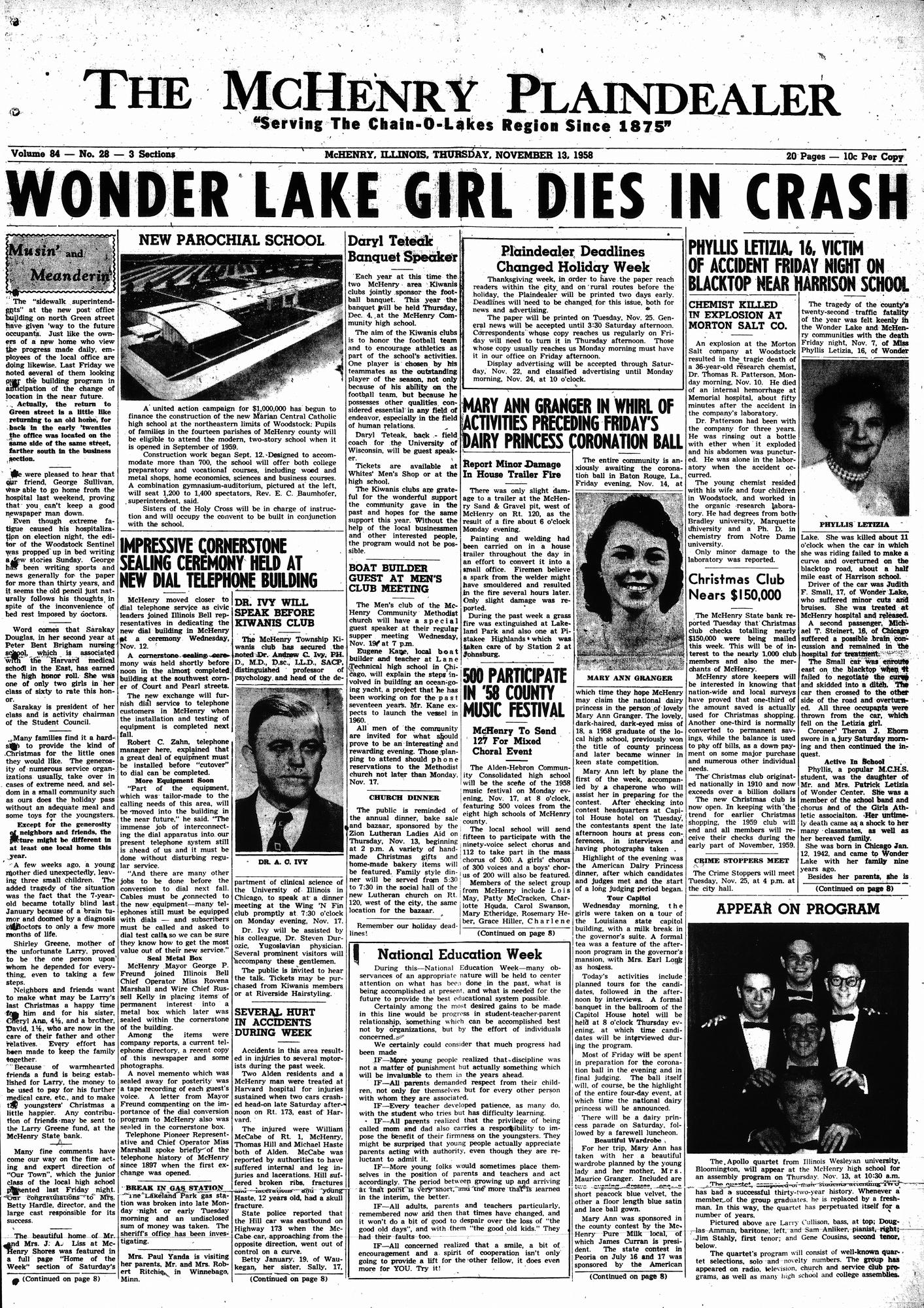 McHenry Plaindealer (McHenry, IL), 13 Nov 1958