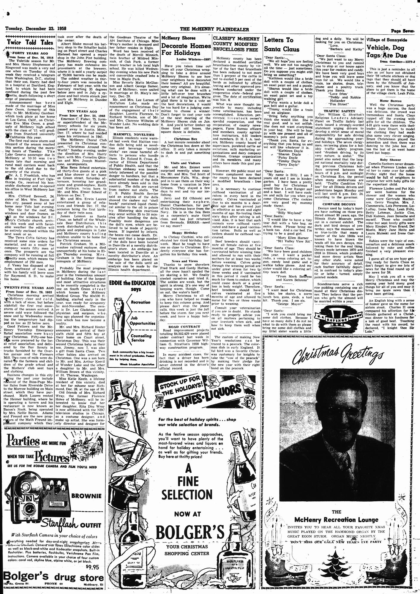 McHenry Plaindealer (McHenry, IL), 23 Dec 1958