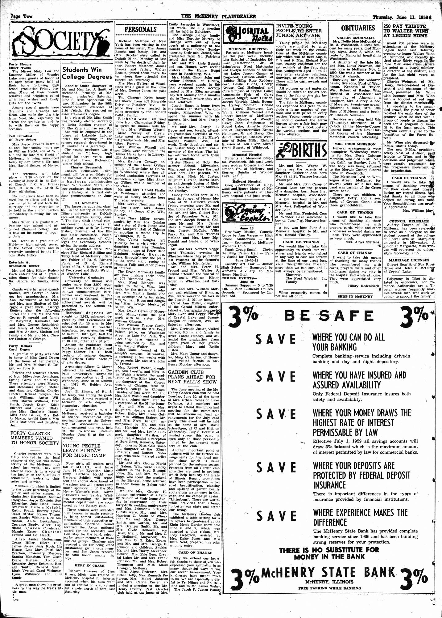 McHenry Plaindealer (McHenry, IL), 11 Jun 1959