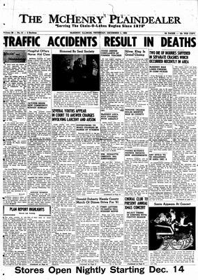 McHenry Plaindealer (McHenry, IL), 1 Dec 1960