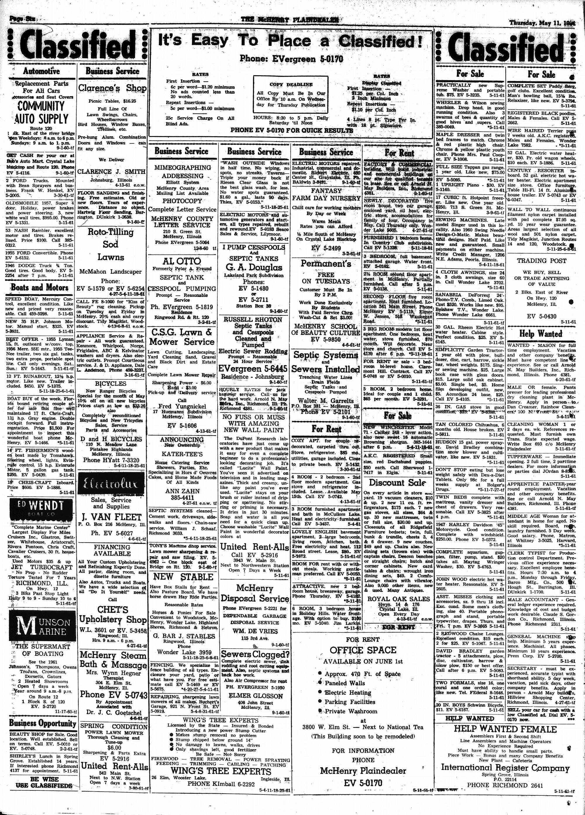 McHenry Plaindealer (McHenry, IL), 11 May 1961
