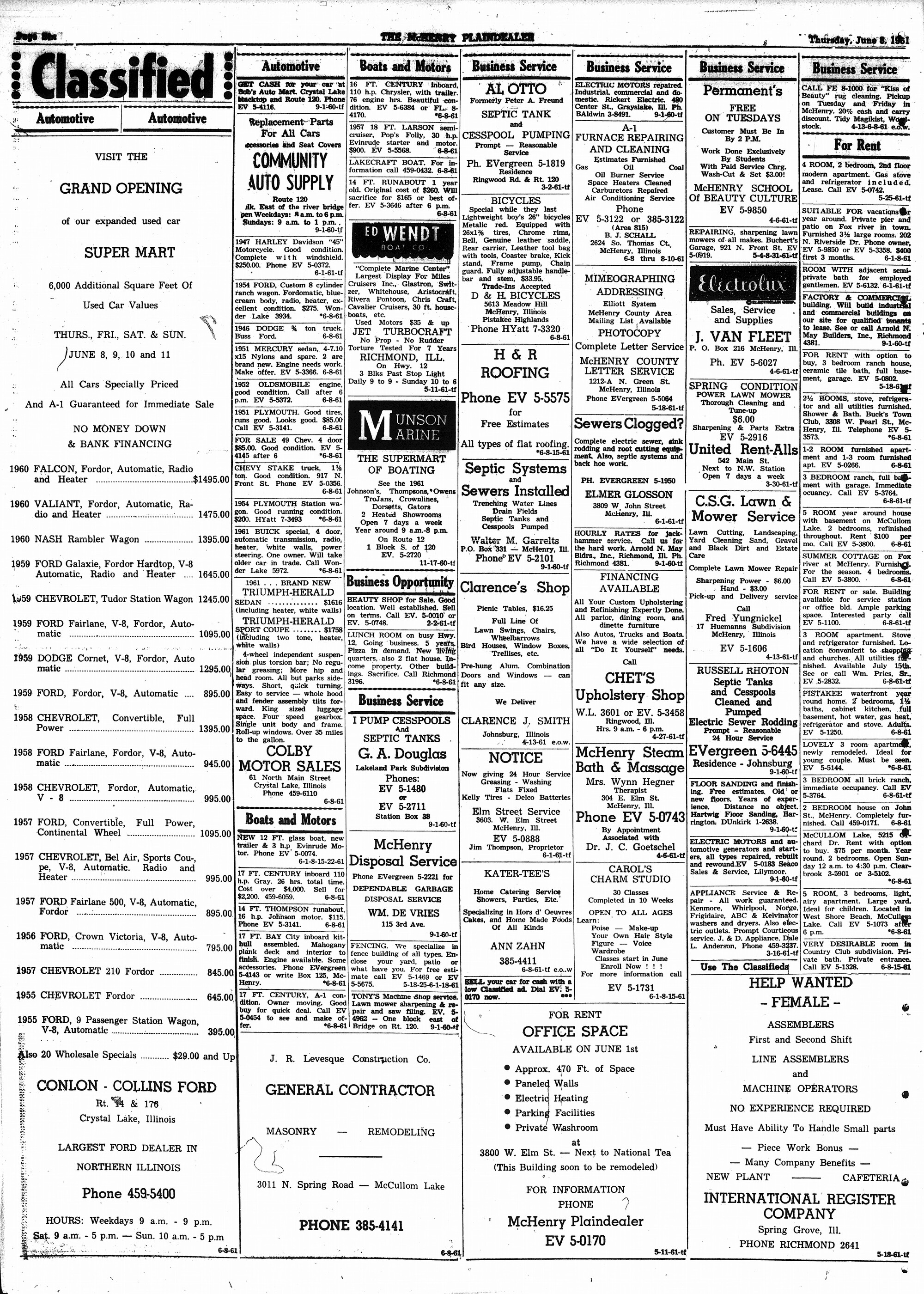 McHenry Plaindealer (McHenry, IL), 8 Jun 1961