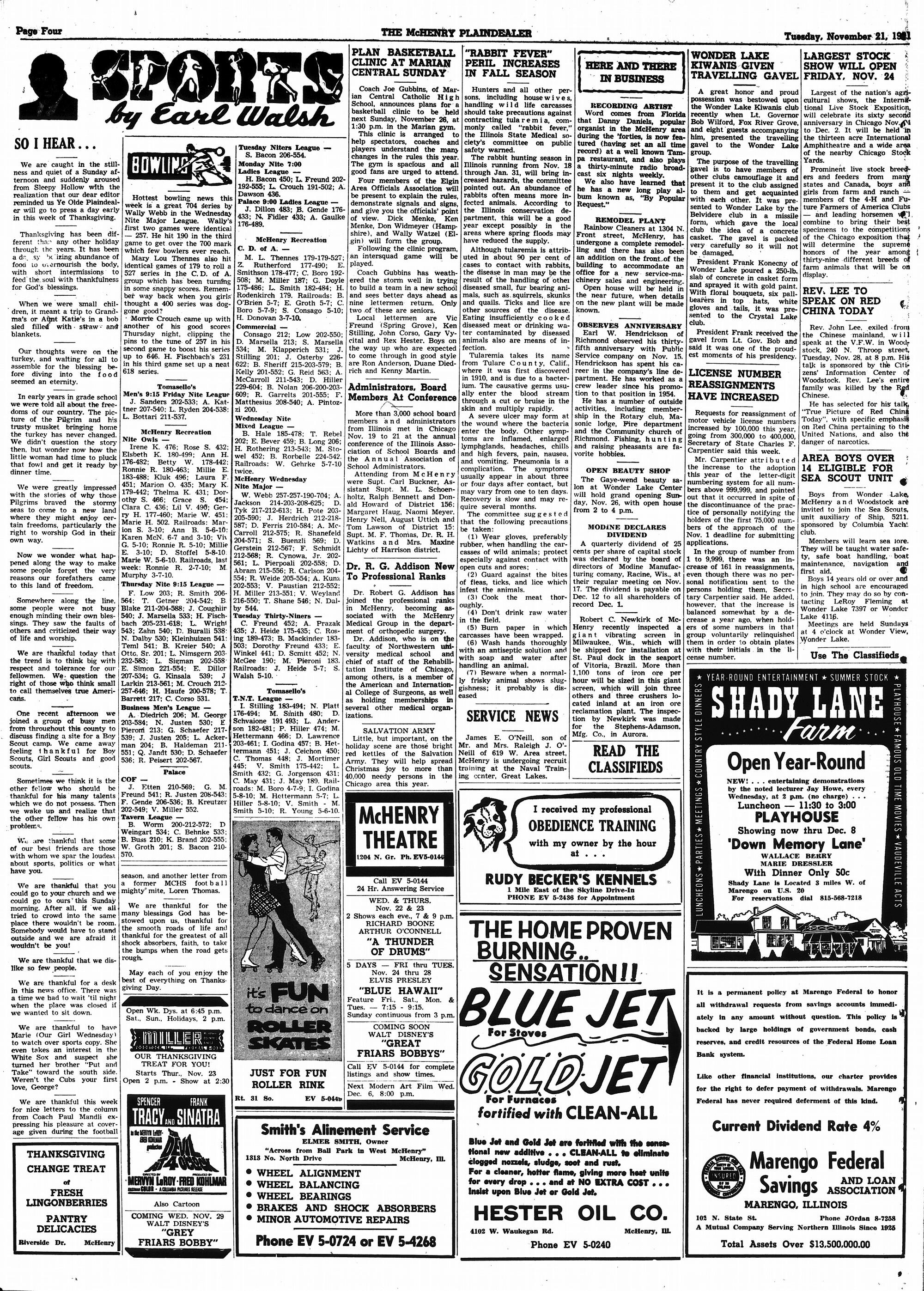 McHenry Plaindealer (McHenry, IL), 21 Nov 1961