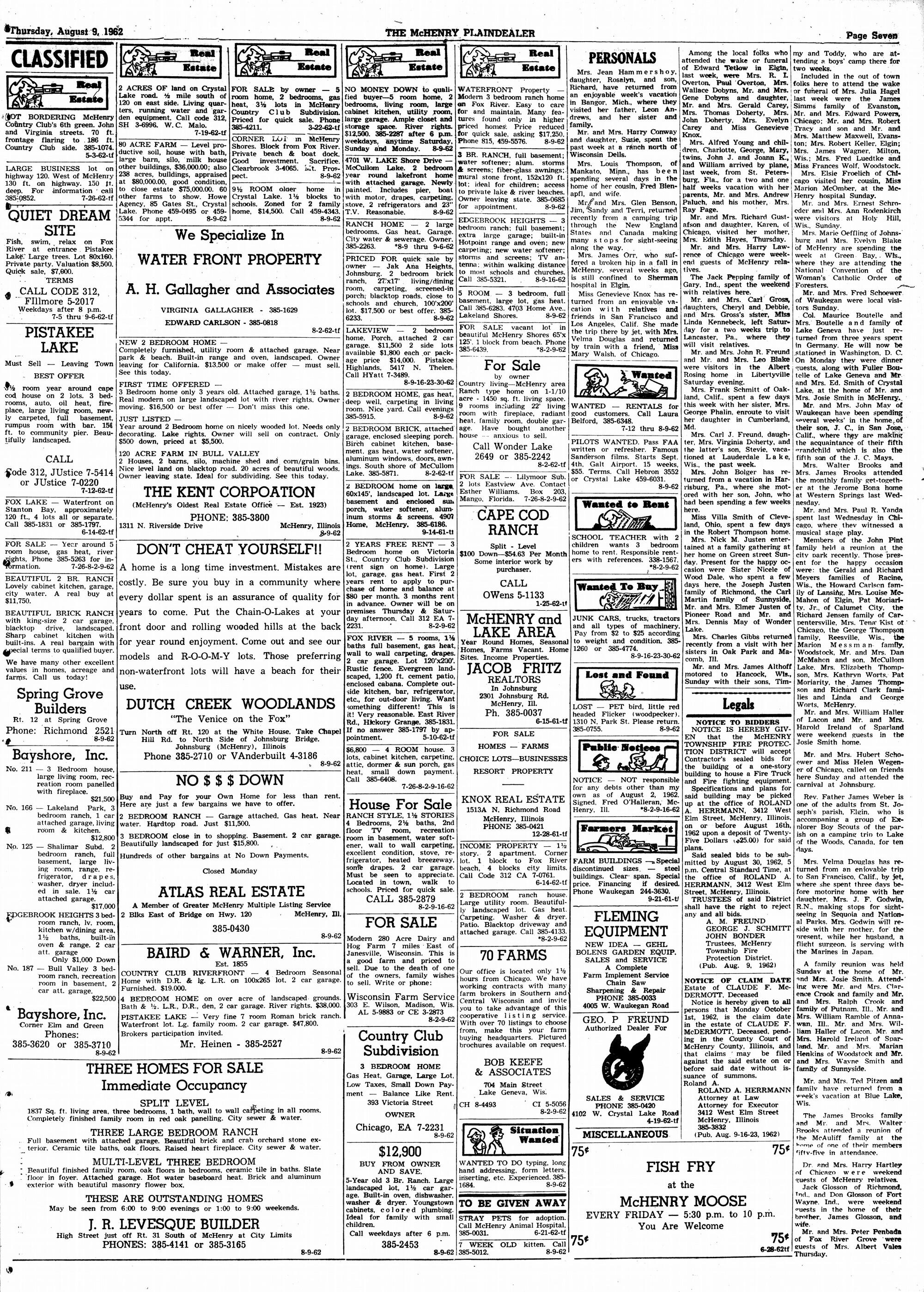 McHenry Plaindealer (McHenry, IL), 9 Aug 1962