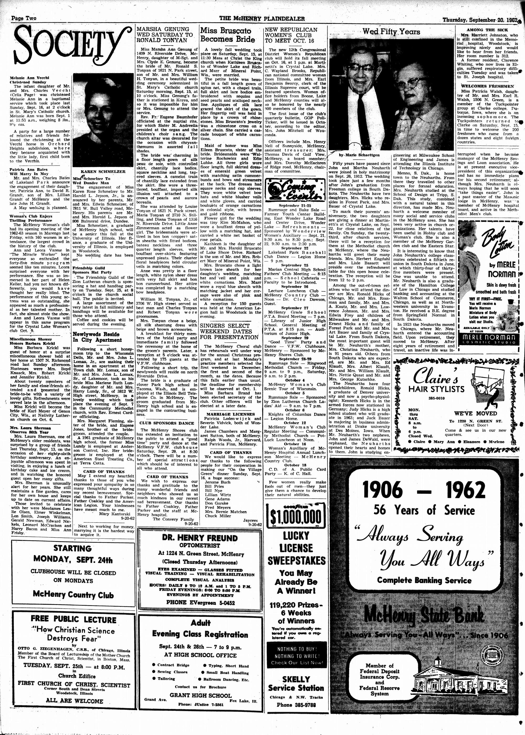 McHenry Plaindealer (McHenry, IL), 20 Sep 1962