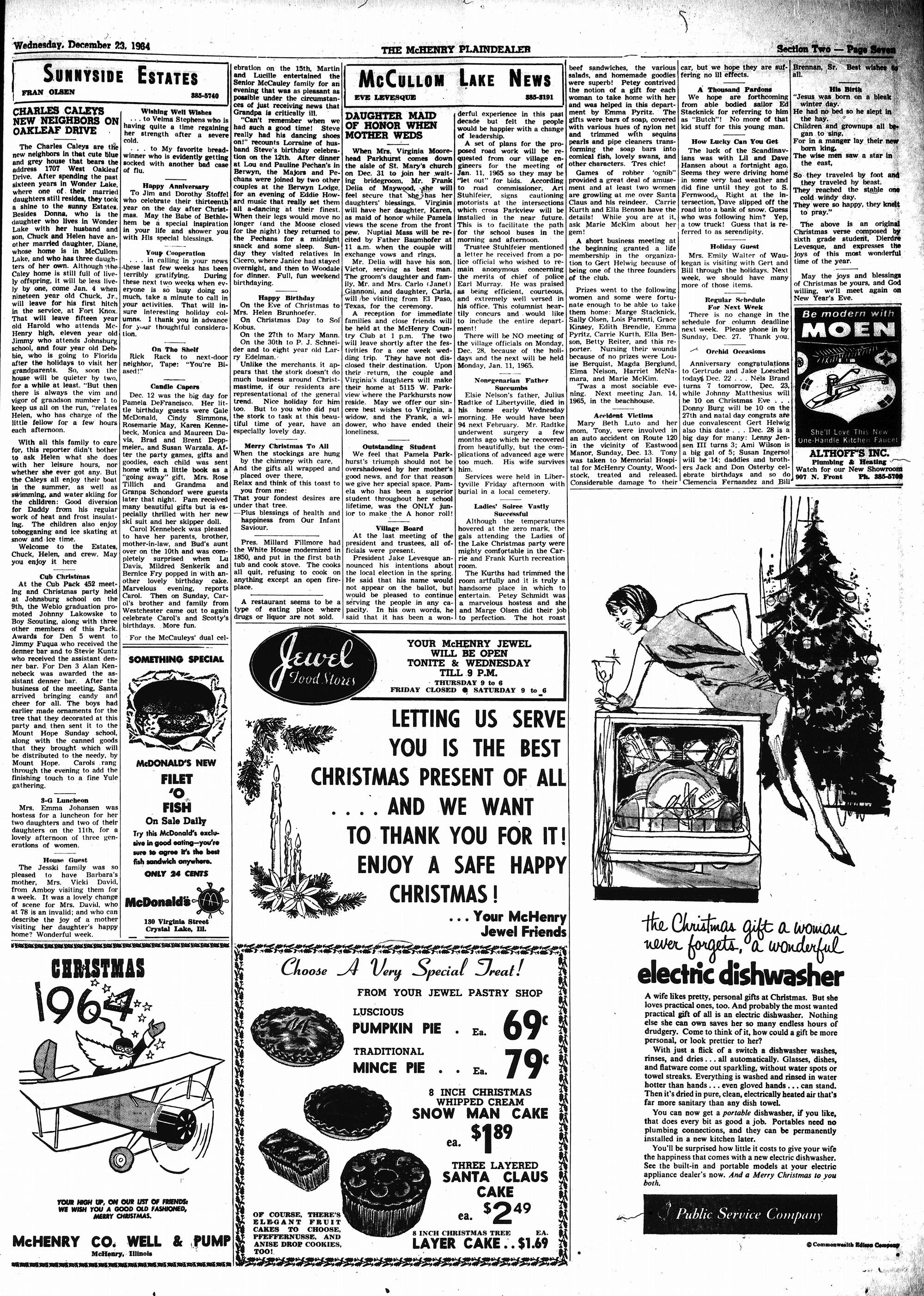 McHenry Plaindealer (McHenry, IL), 23 Dec 1964
